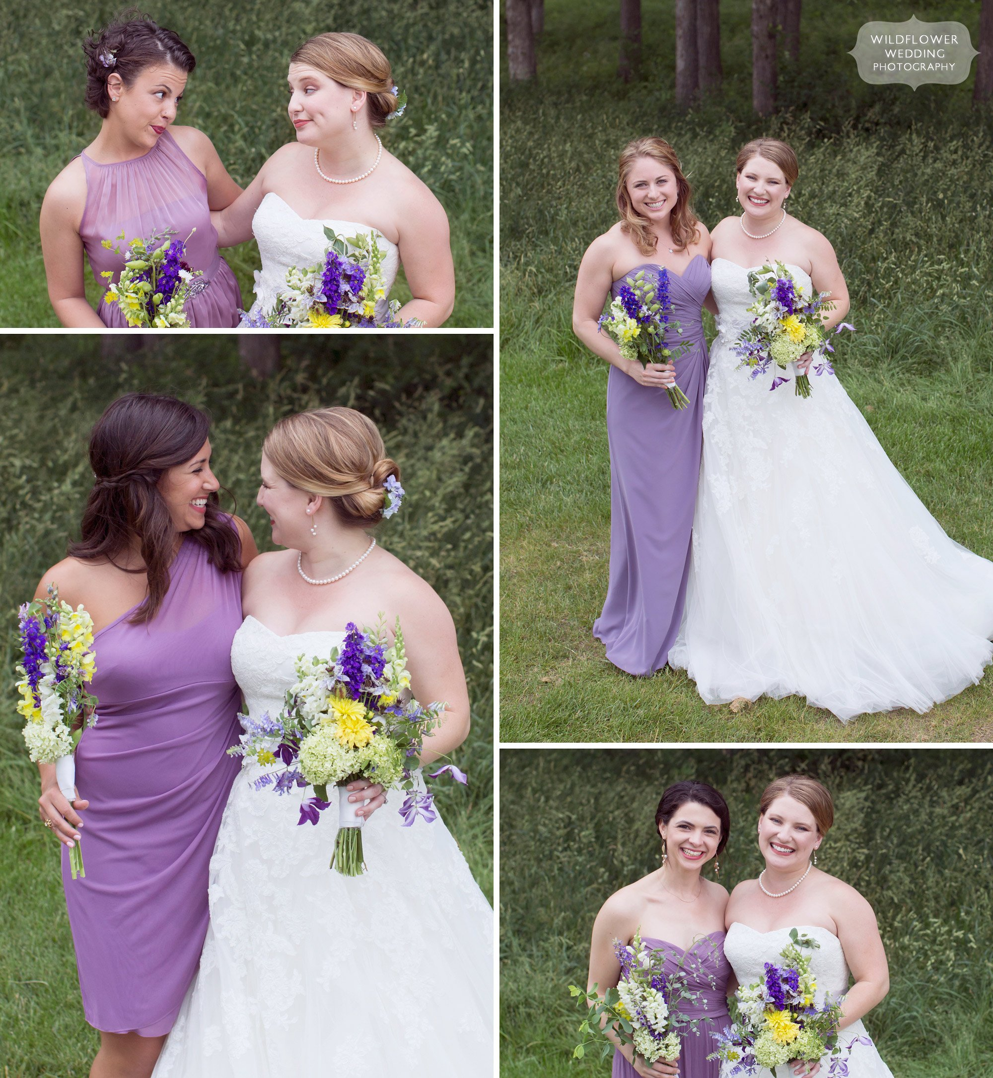 Variety of pose ideas for bride with bridesmaids in Columbia, MO.