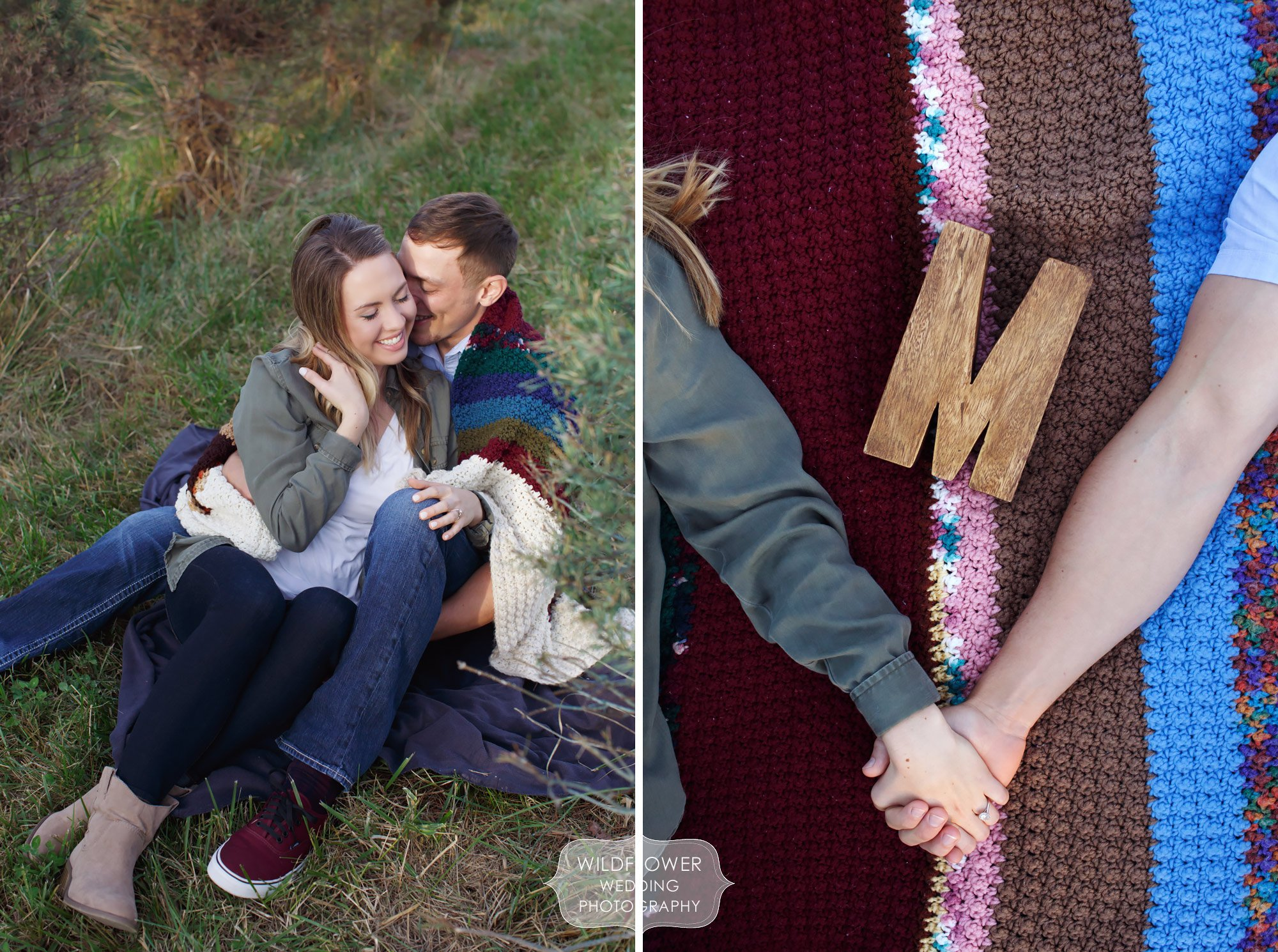 Winter engagement photos of couple on a blanket at this Christmas Tree Farm near Columbia, MO.