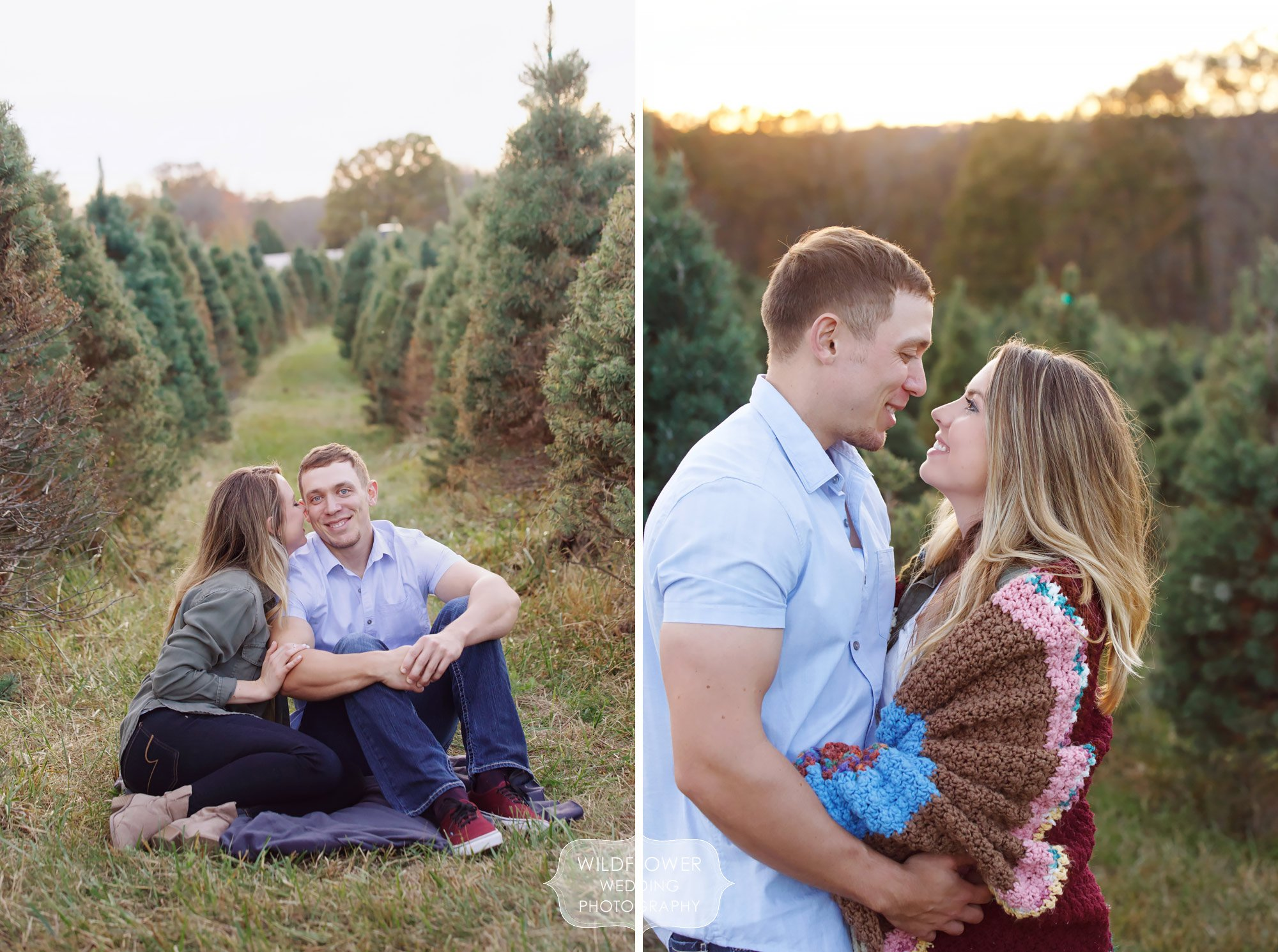 Engagement photos of couple wrapped in a blanket at a tree farm near Columbia, MO.