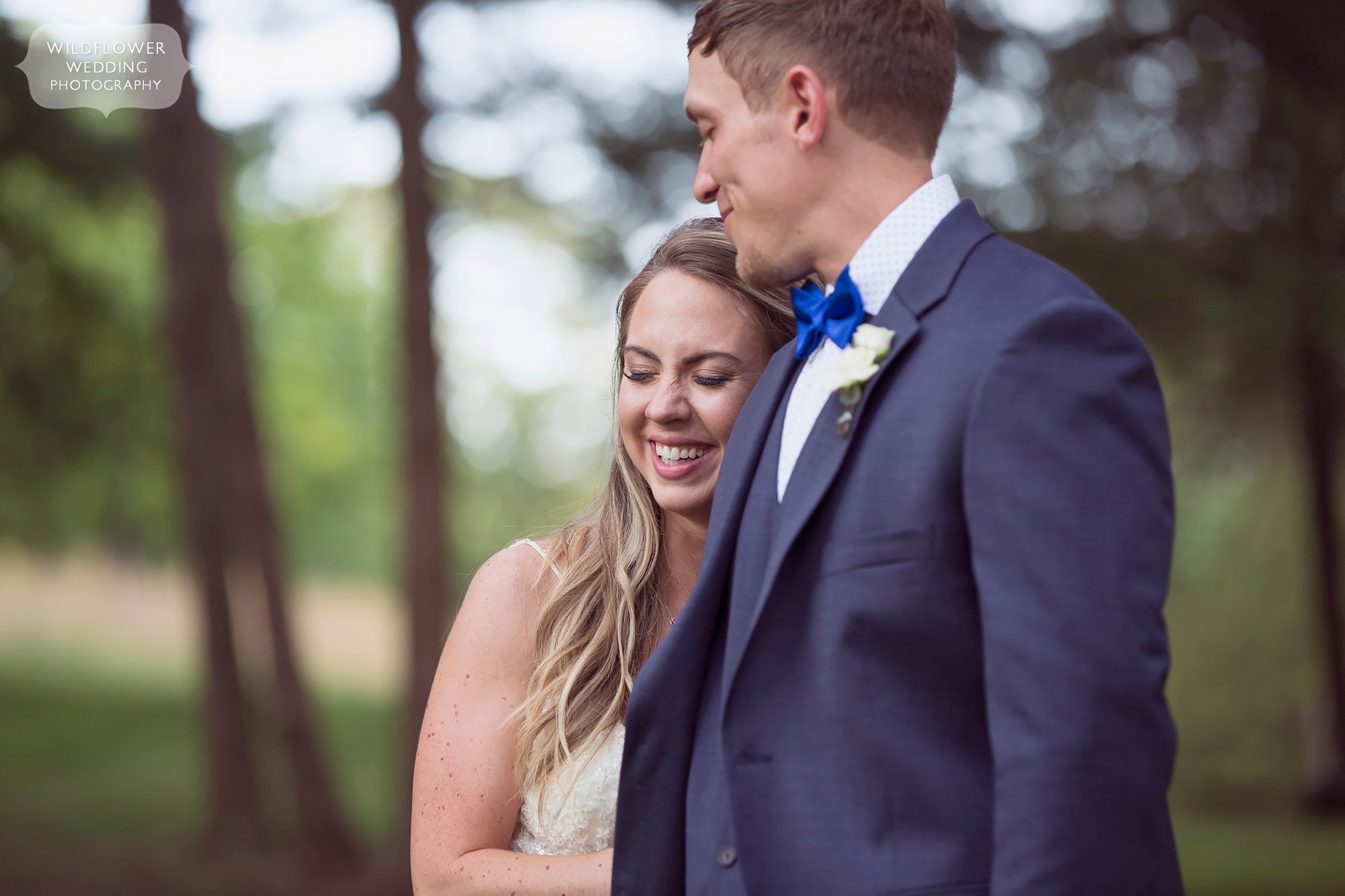 Happy wedding photo of the bride and groom at this barn venue in MO.