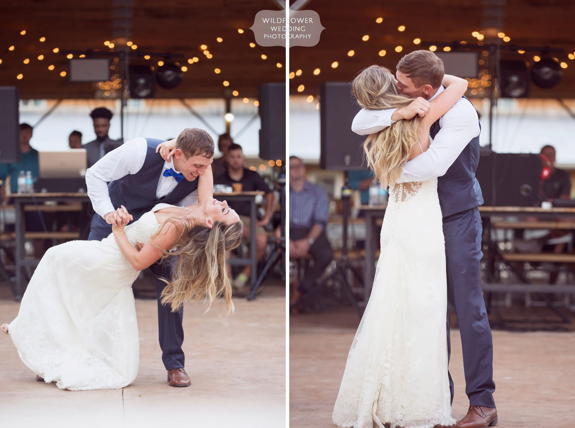 Great documentary photo of the groom dipping the bride outside of a barn on the outdoor patio of Kempker's.
