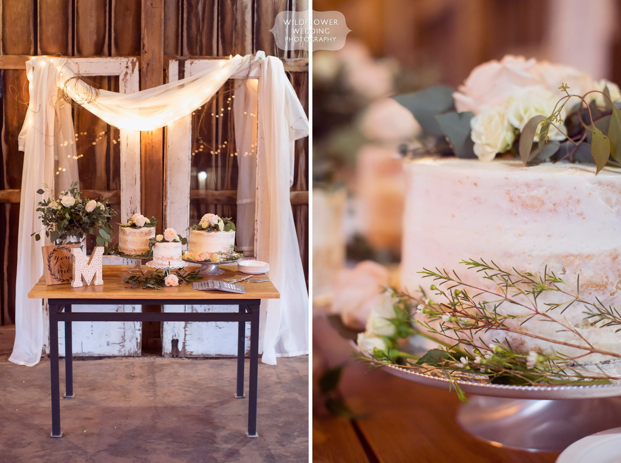 Naked wedding cakes on display with romantic lace and twinkle lights at this barn wedding at Kempker's Back 40 in southern MO.