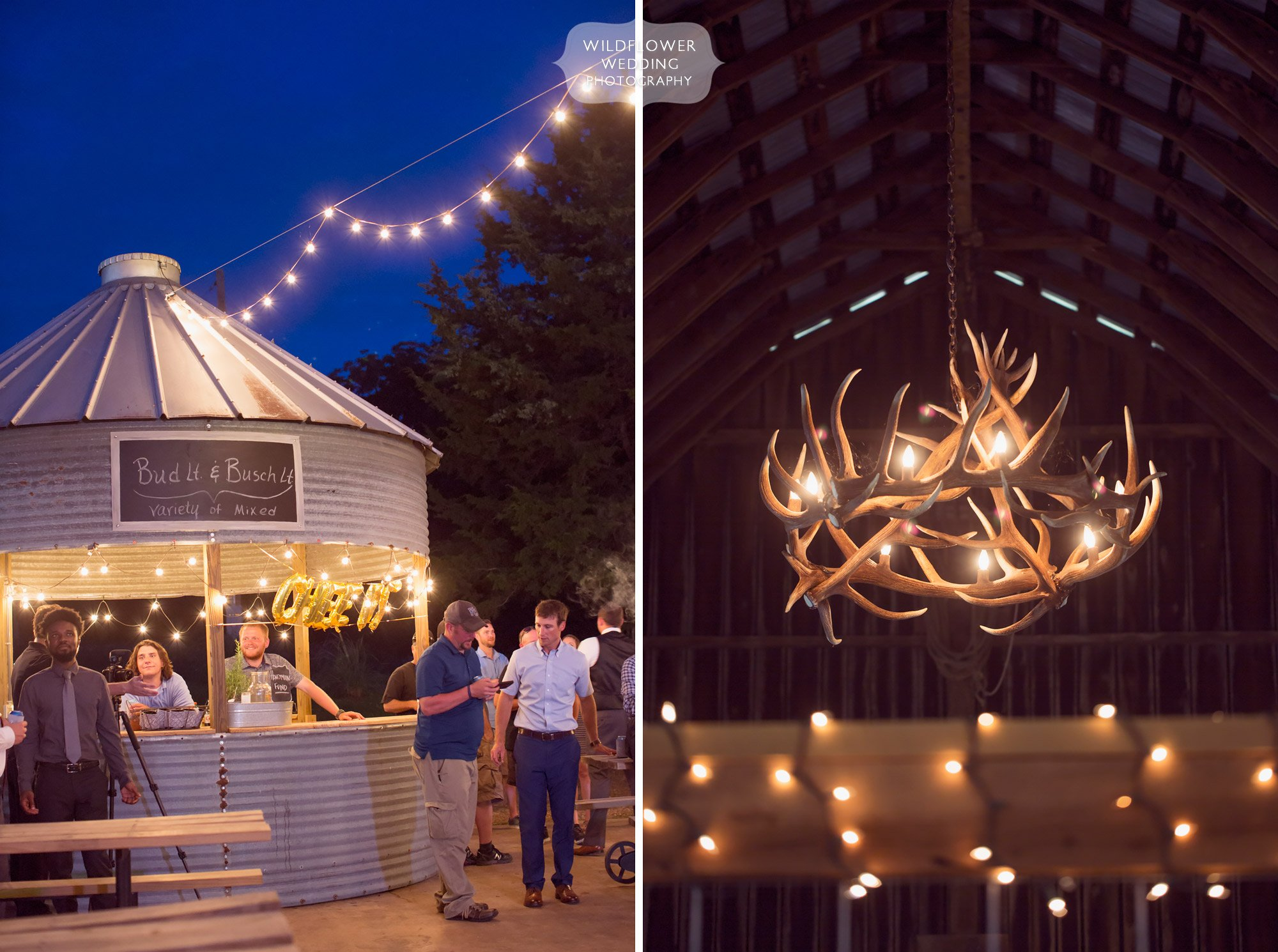Twinkle lights and an antler chandelier at this country wedding venue in southern MO made for amazing wedding photos!