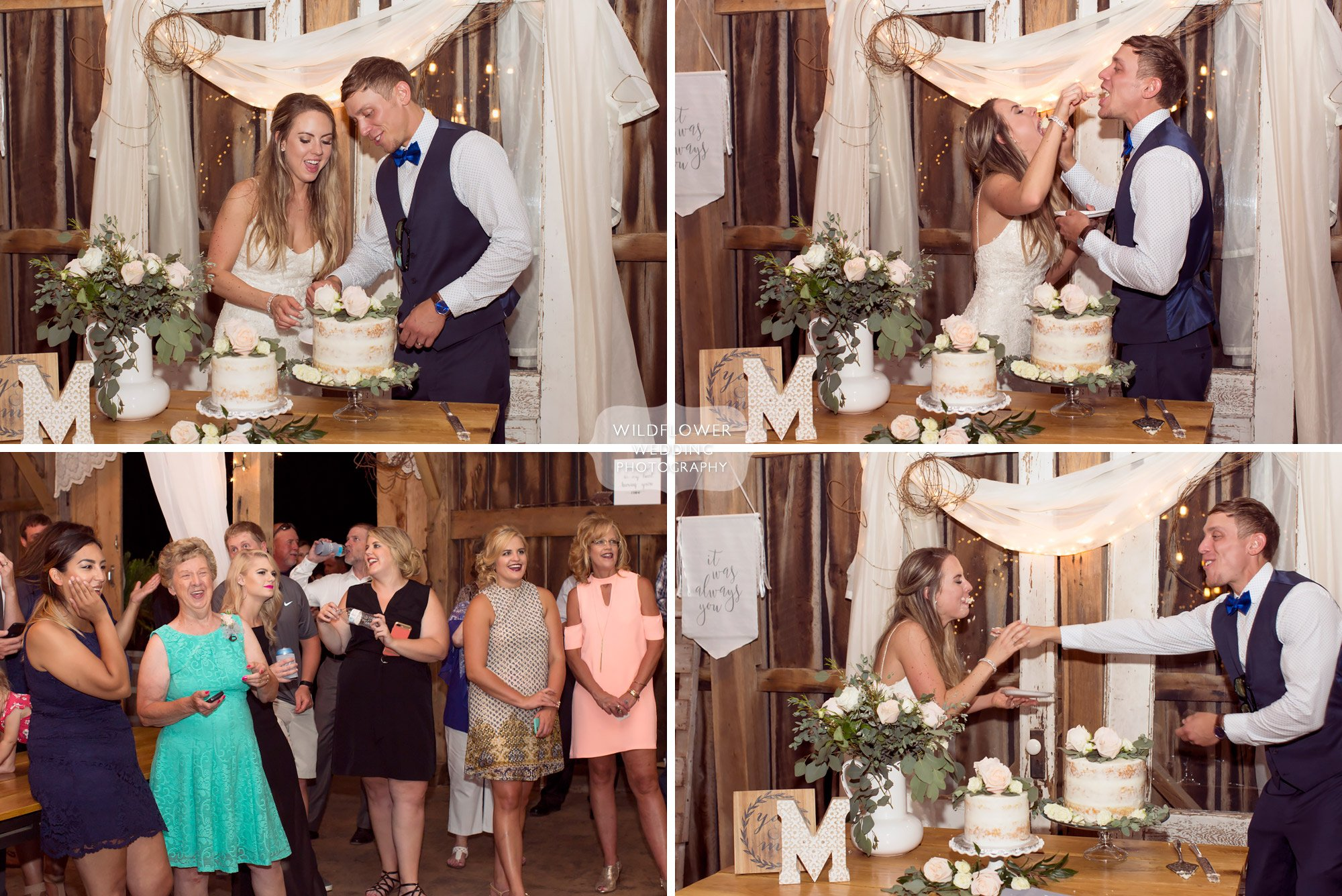 Great photos of the bride and groom cake smash at the barn at Kempker's in southern MO.