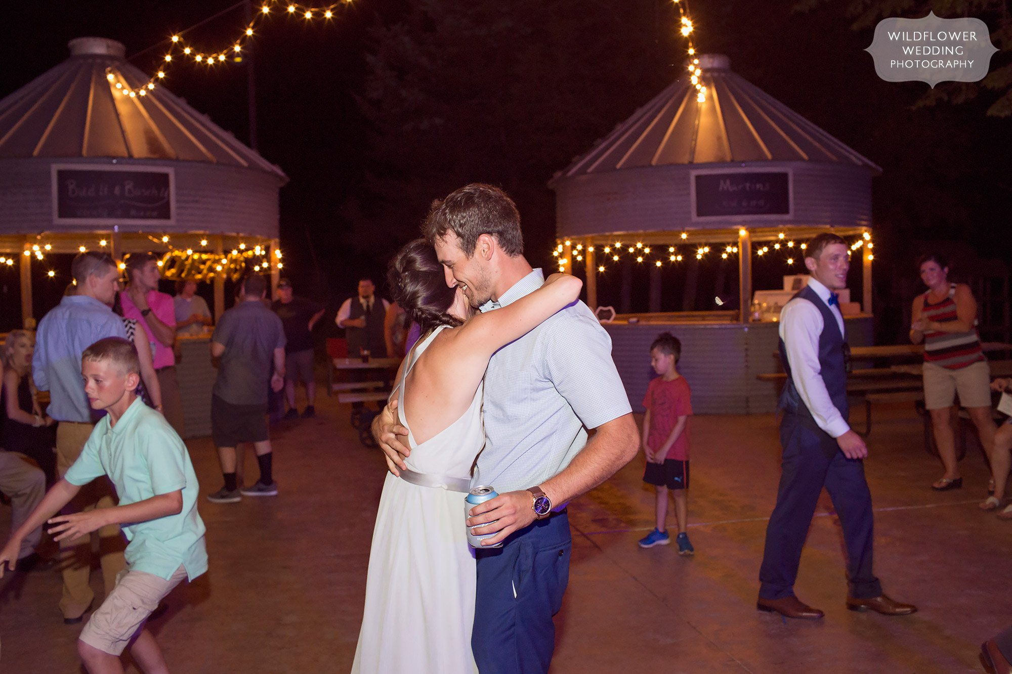 Dancing on the outdoor patio for this wedding reception at Kempker's.