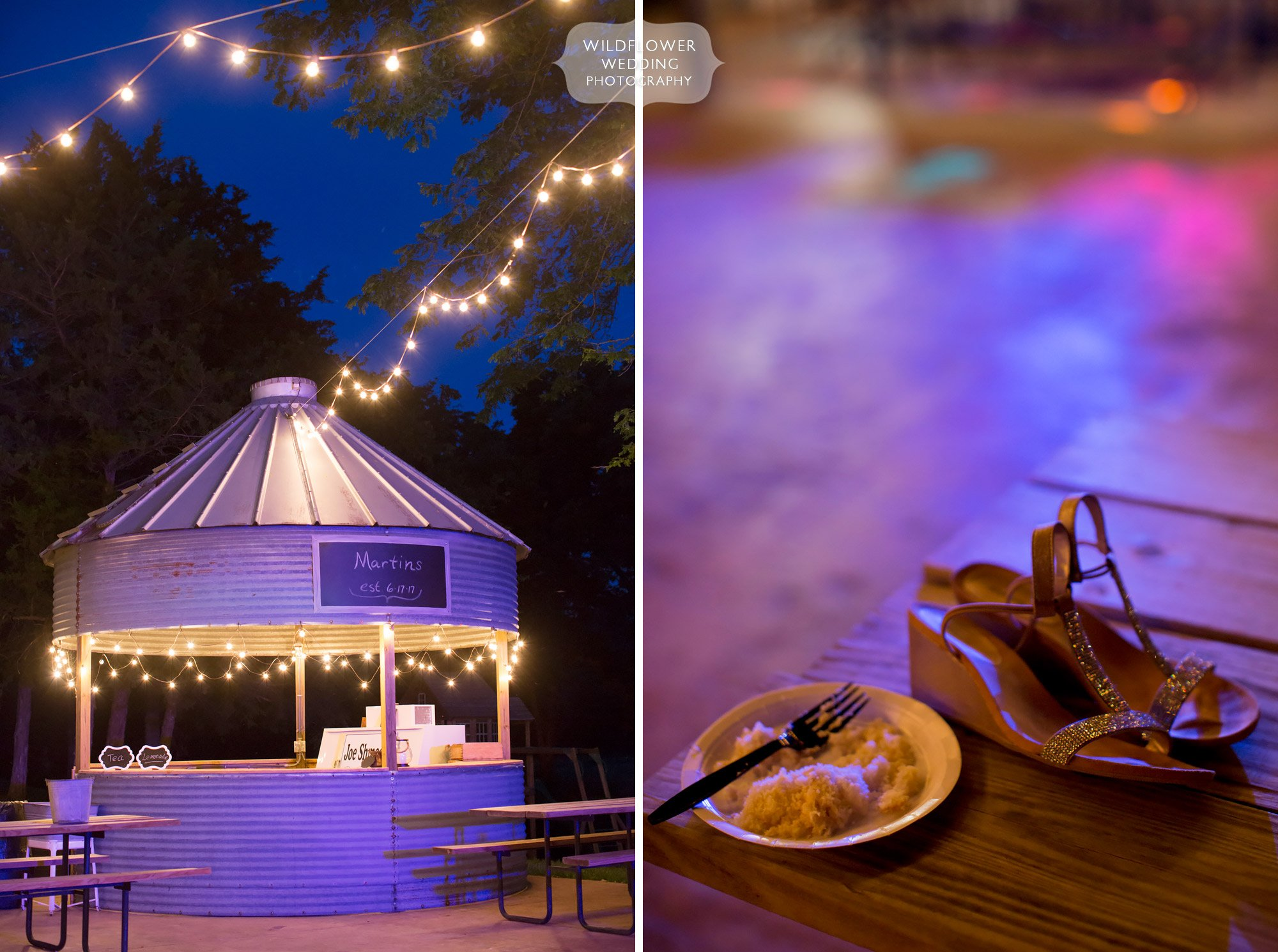 Outdoor dance floor with pink lights at Kempker's Back 40 barn in MO.