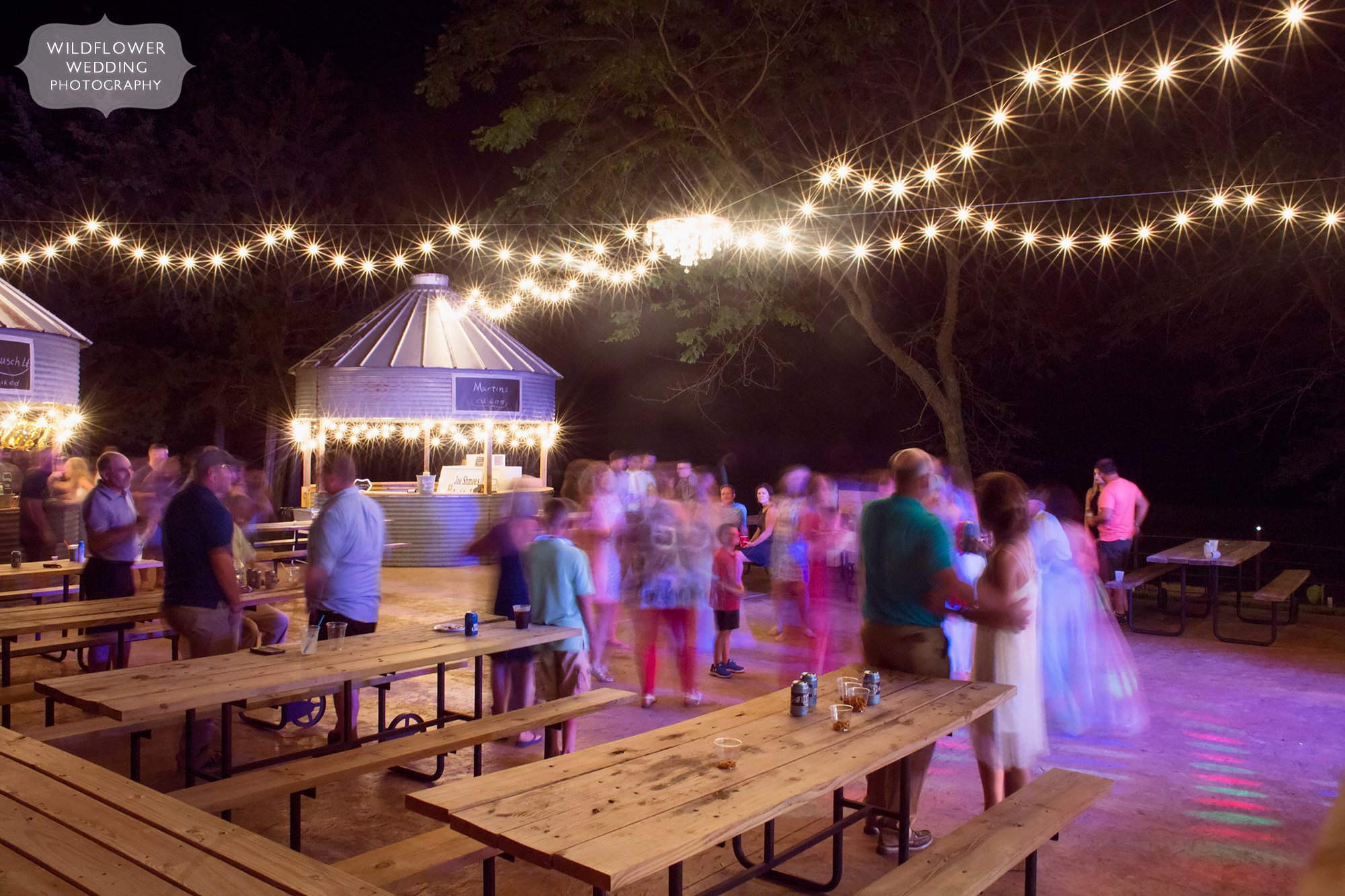 Outdoor dance floor at this country barn wedding venue in southern MO at Kempker's Back 40 barn.