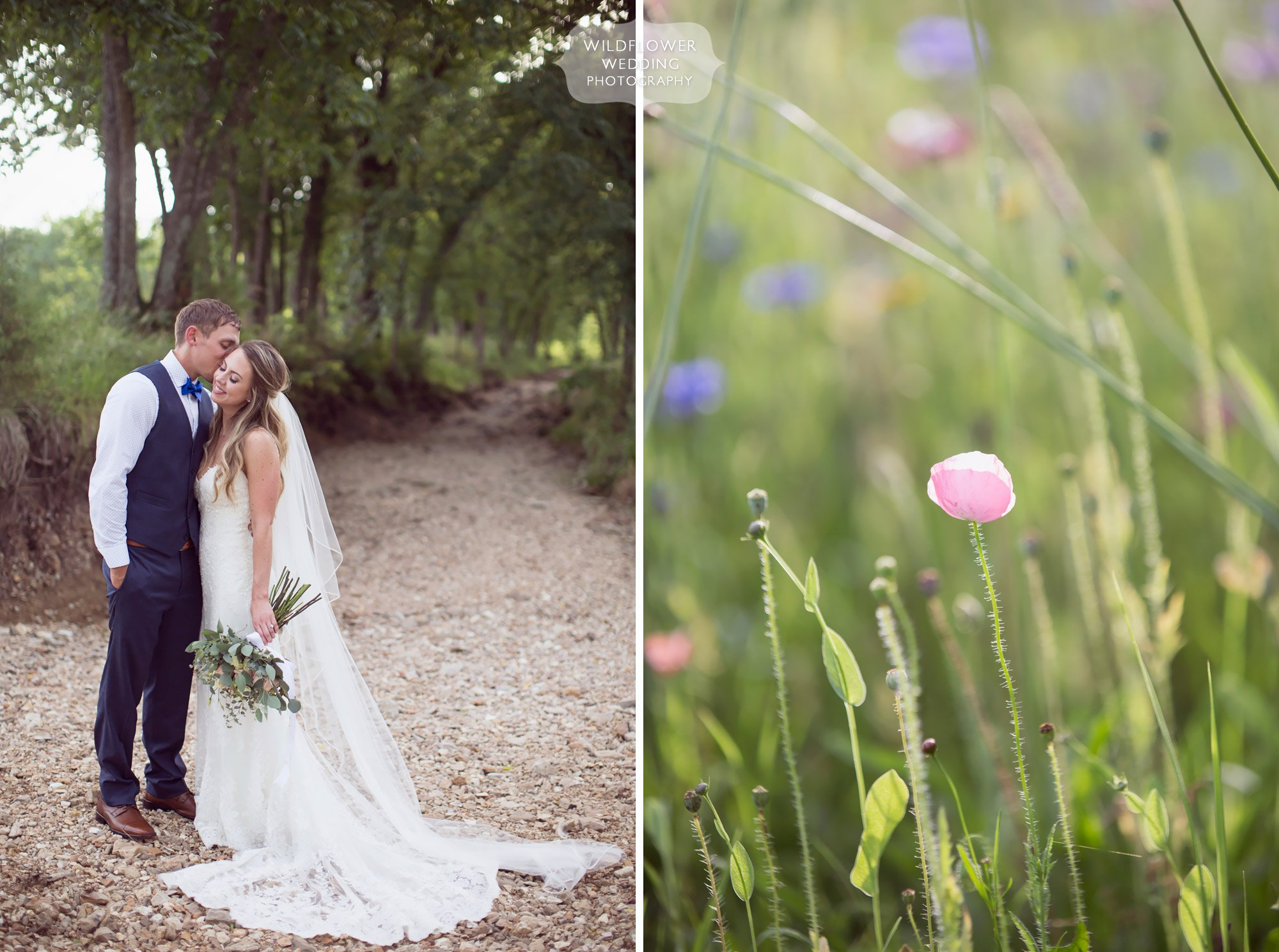 Bride and groom pose in the creek bed outside of the Kempker's Back 40 wedding venue with fields of wildflowers.