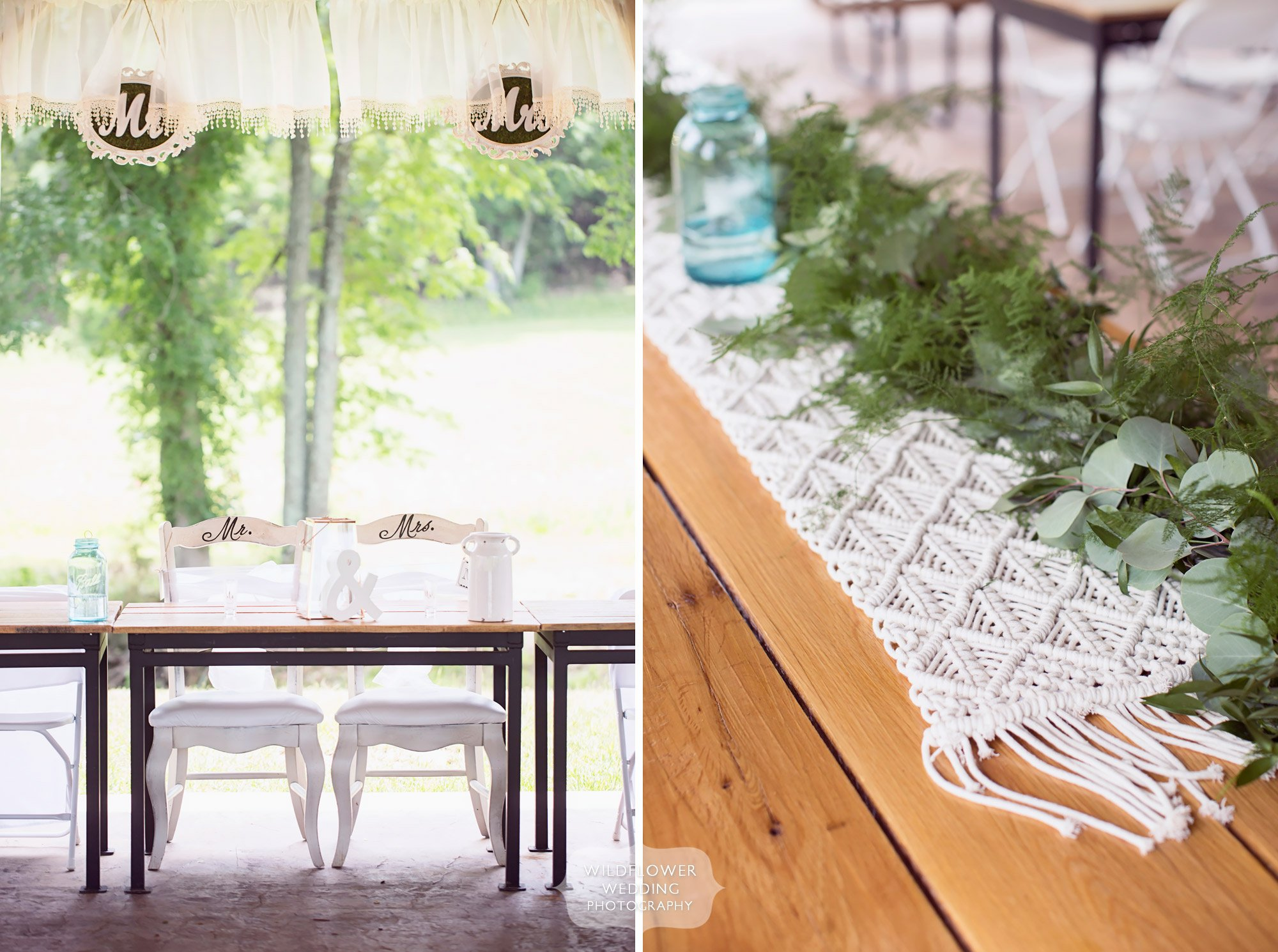 These woven macrame table runners were perfect for this barn wedding in the country at Kempker's Back 40.