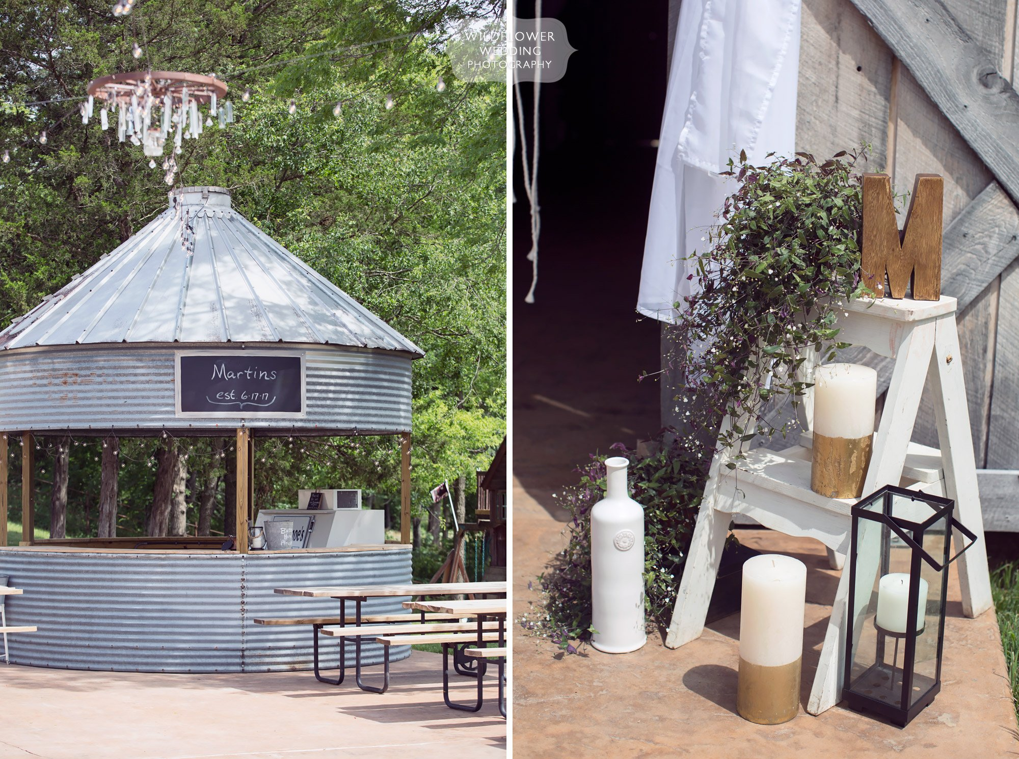 These unique antique silo bars at the Kempker's Back 40 barn venue in MO were the coolest drink stations ever!