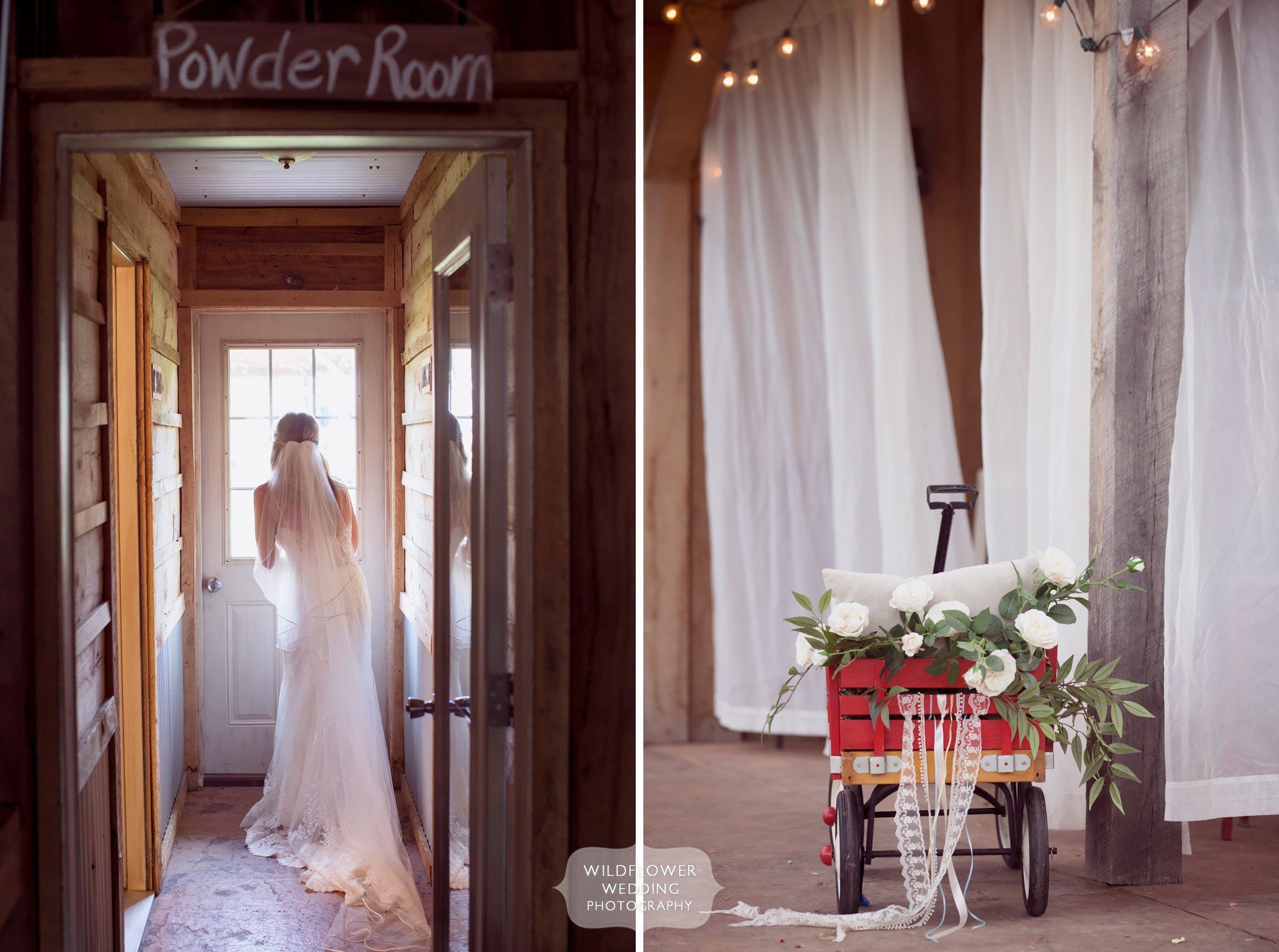 Bride looking out the barn window at the rustic Kempker's Back 40 barn venue in Missouri.