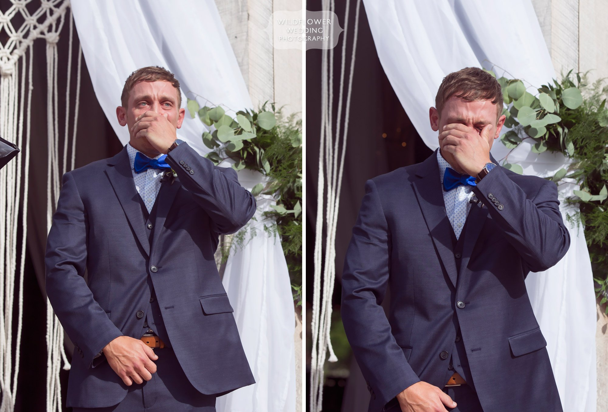 Emotional photos of the groom crying when he sees his bride for the first time at this barn wedding in MO.