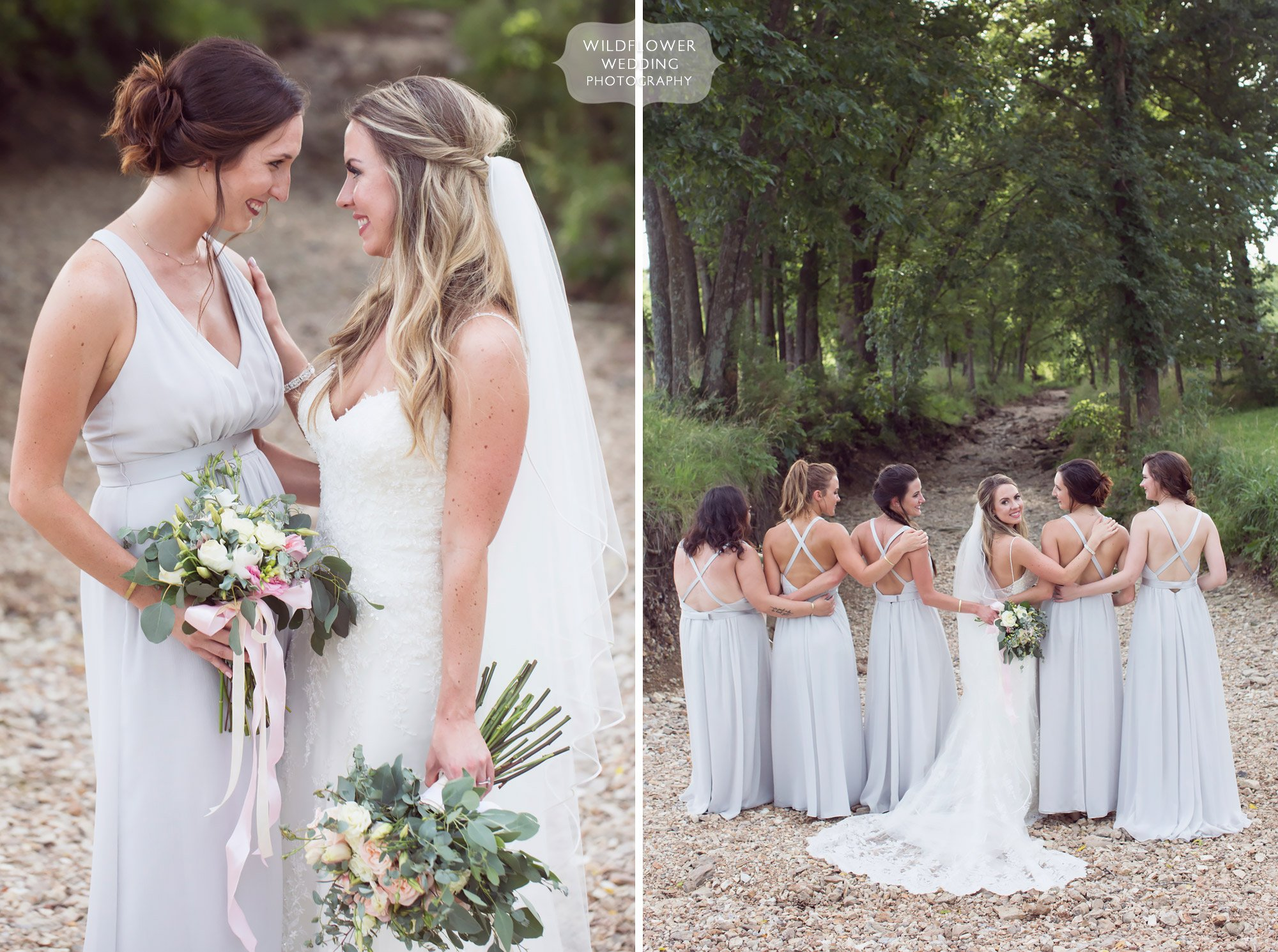 Natural wedding photography of the bride and her wedding party in the creek at Kempker's Back 40.