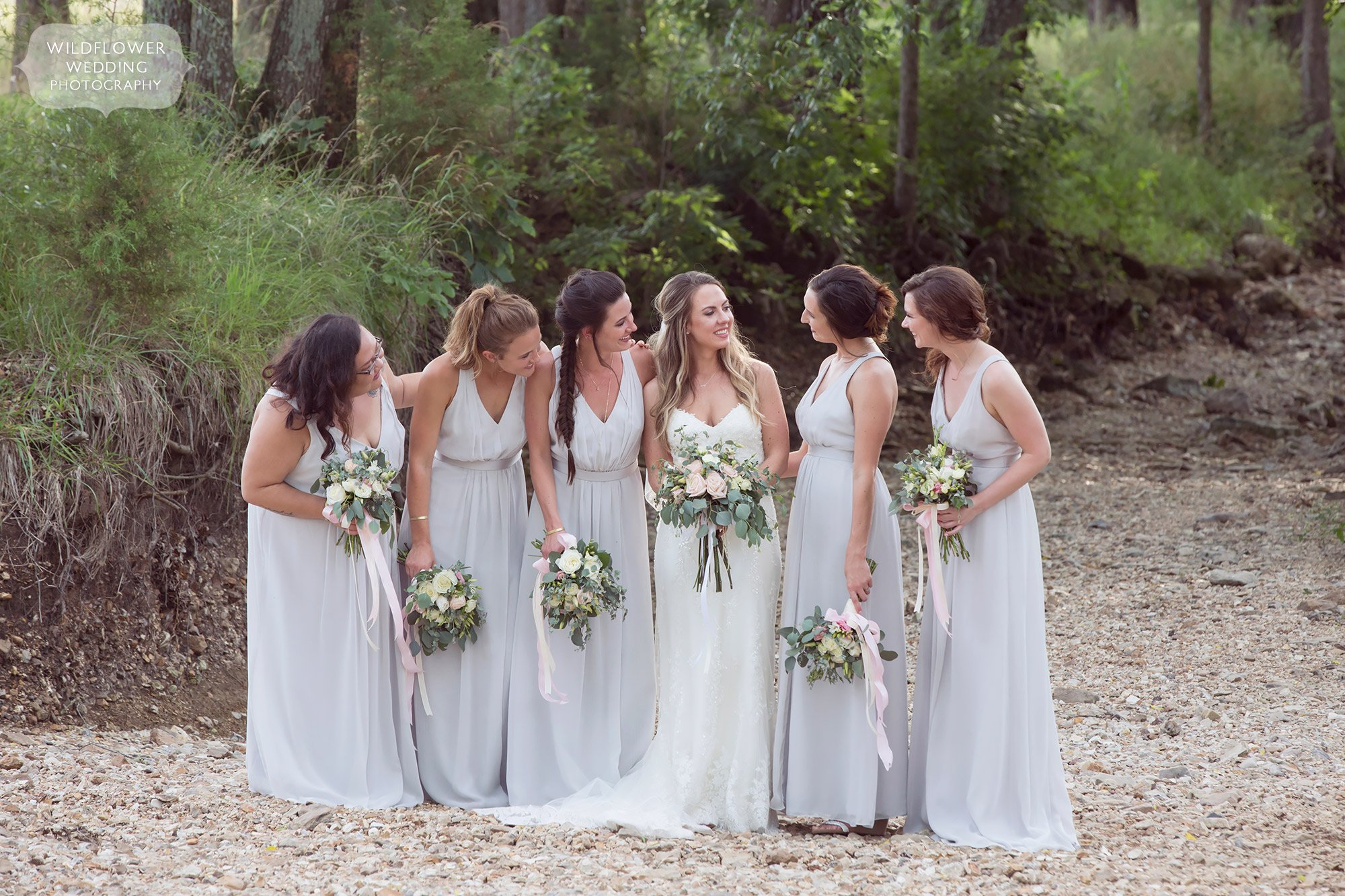 Natural and anthropologie style wedding photography of the bridesmaids at Kempker's Back 40.