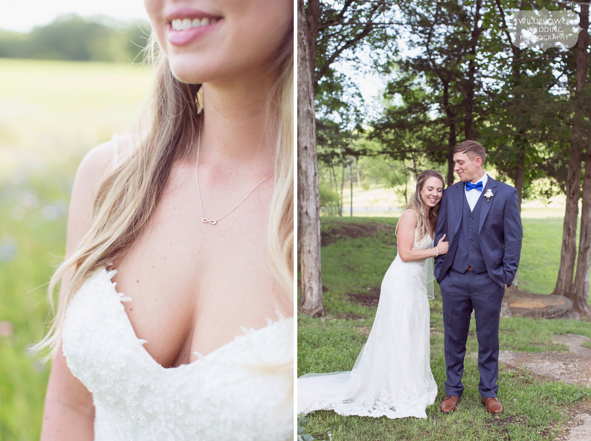 Simple tiffanys figure 8 necklace for this country wedding at the Kempker's Back 40 wedding barn venue.
