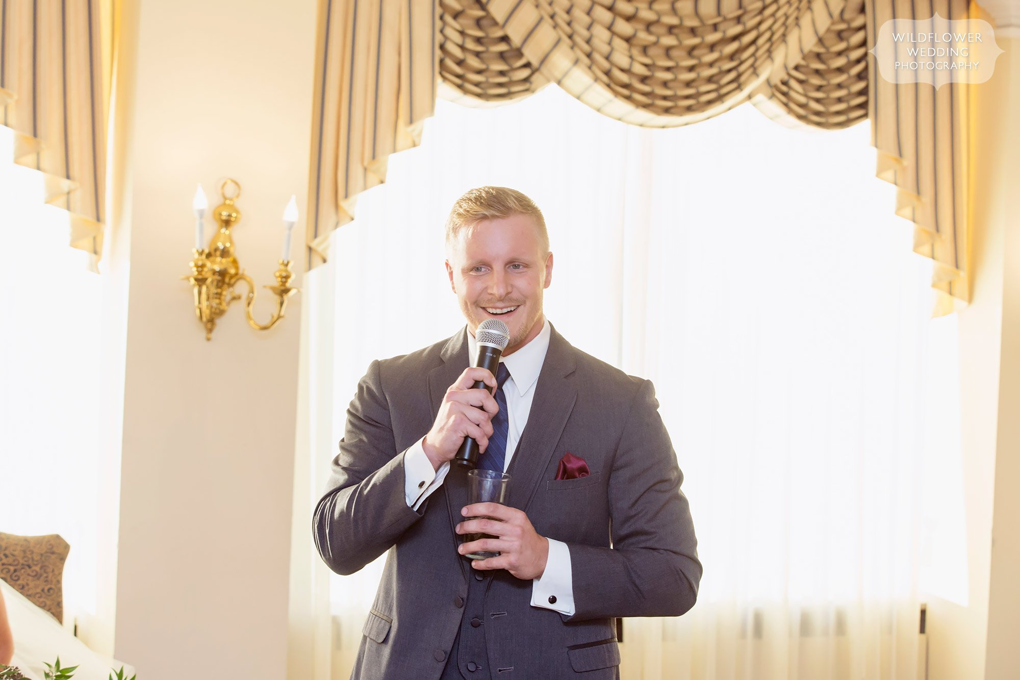 Best man gives a toast at this Jeff City Country Club wedding.