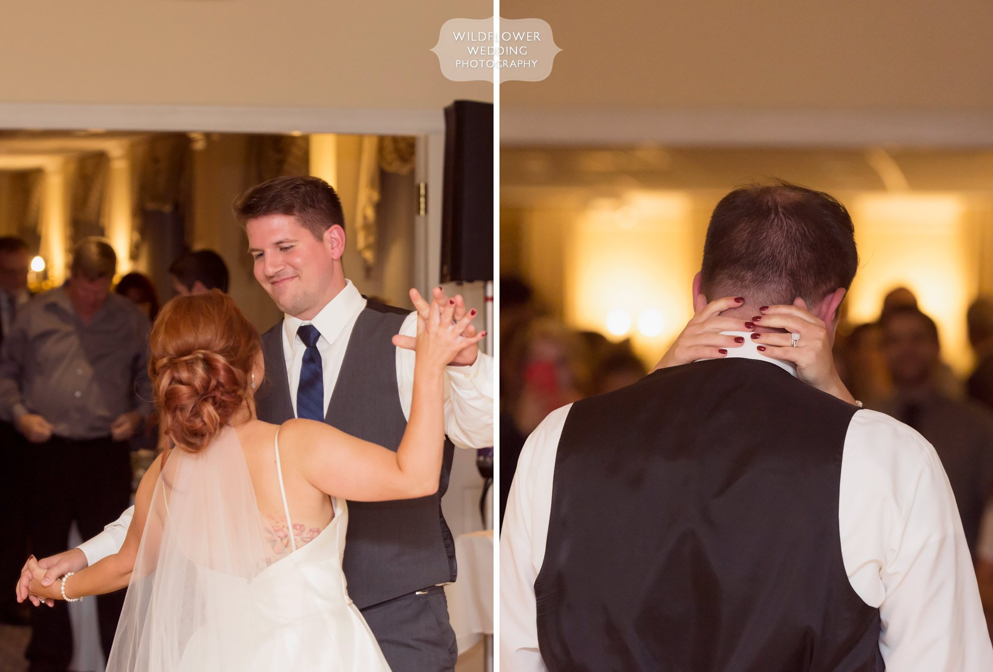 Bride and groom have their first dance at their wedding reception in October at JCCC.