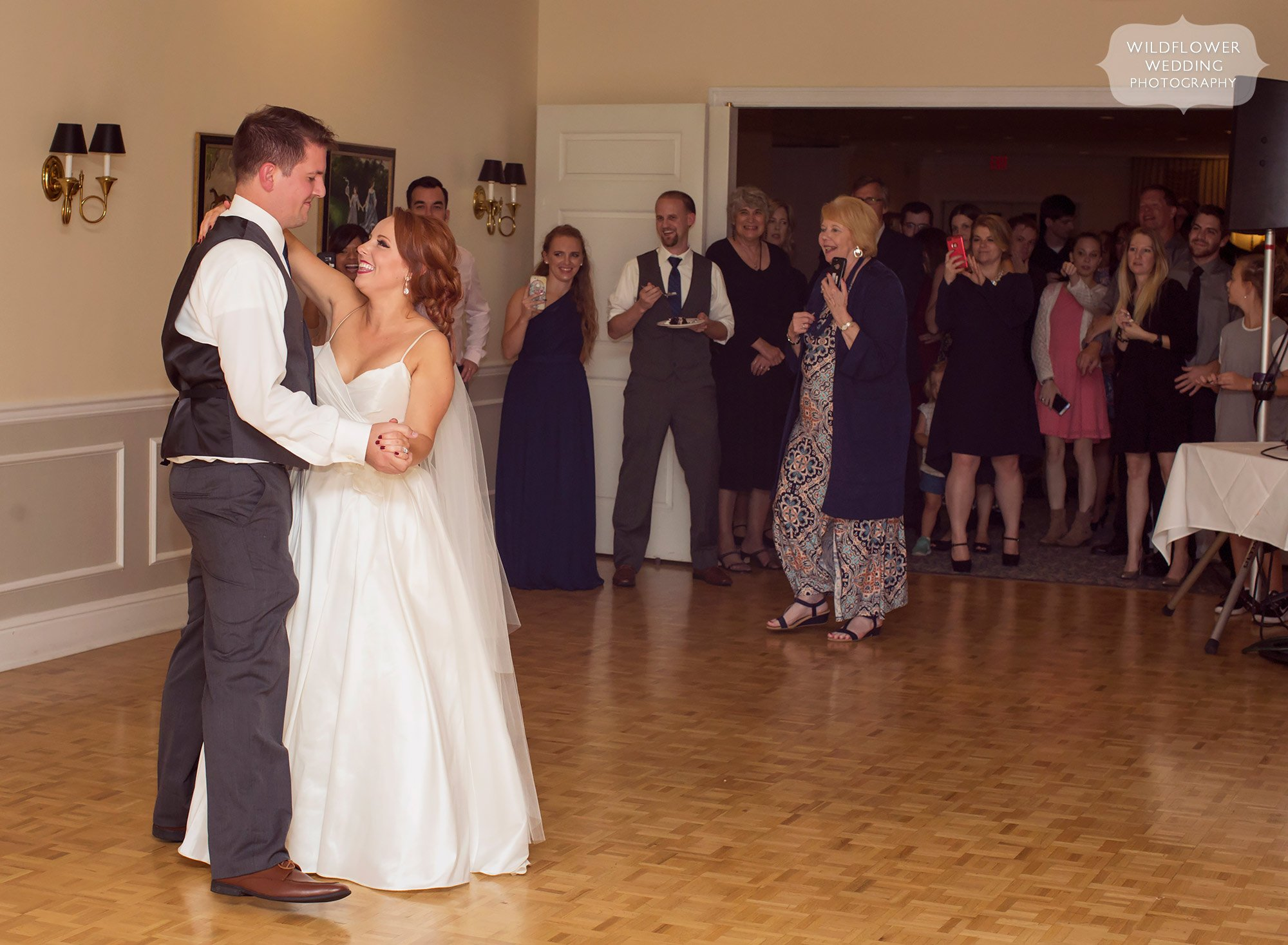 Romantic wedding dance of bride and groom at Jeff City Country Club.