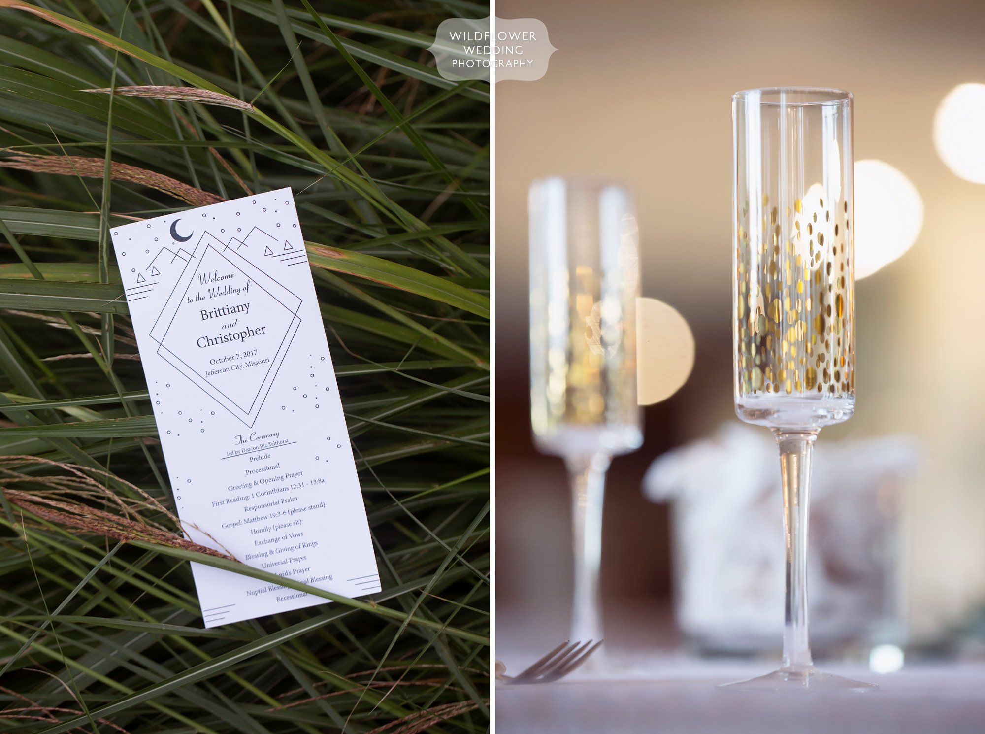 Rustic chic wedding details with polka dot champaign glasses at Jeff City CC.