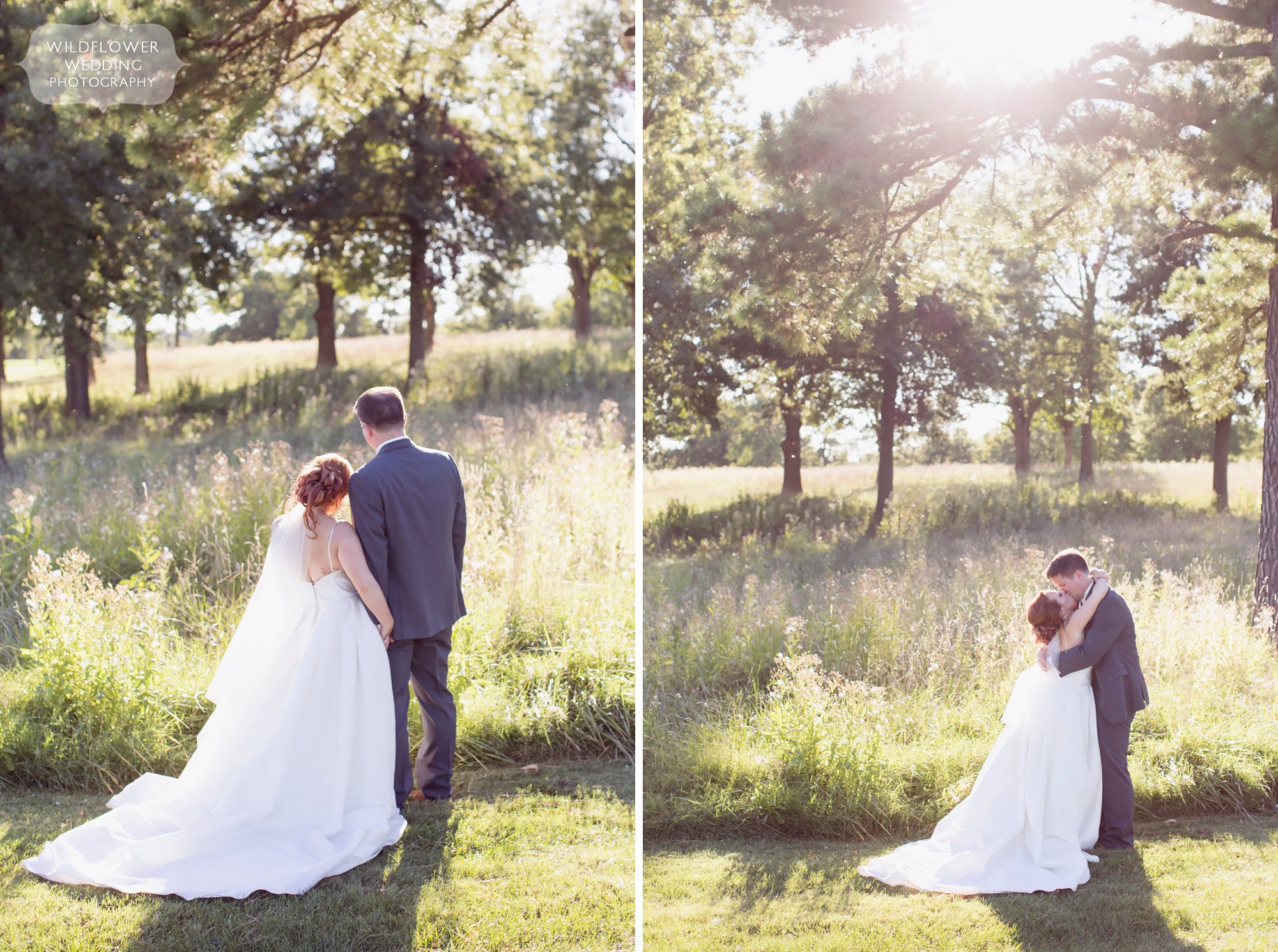 Soft light wedding photography of bride and groom in Jefferson City, MO.