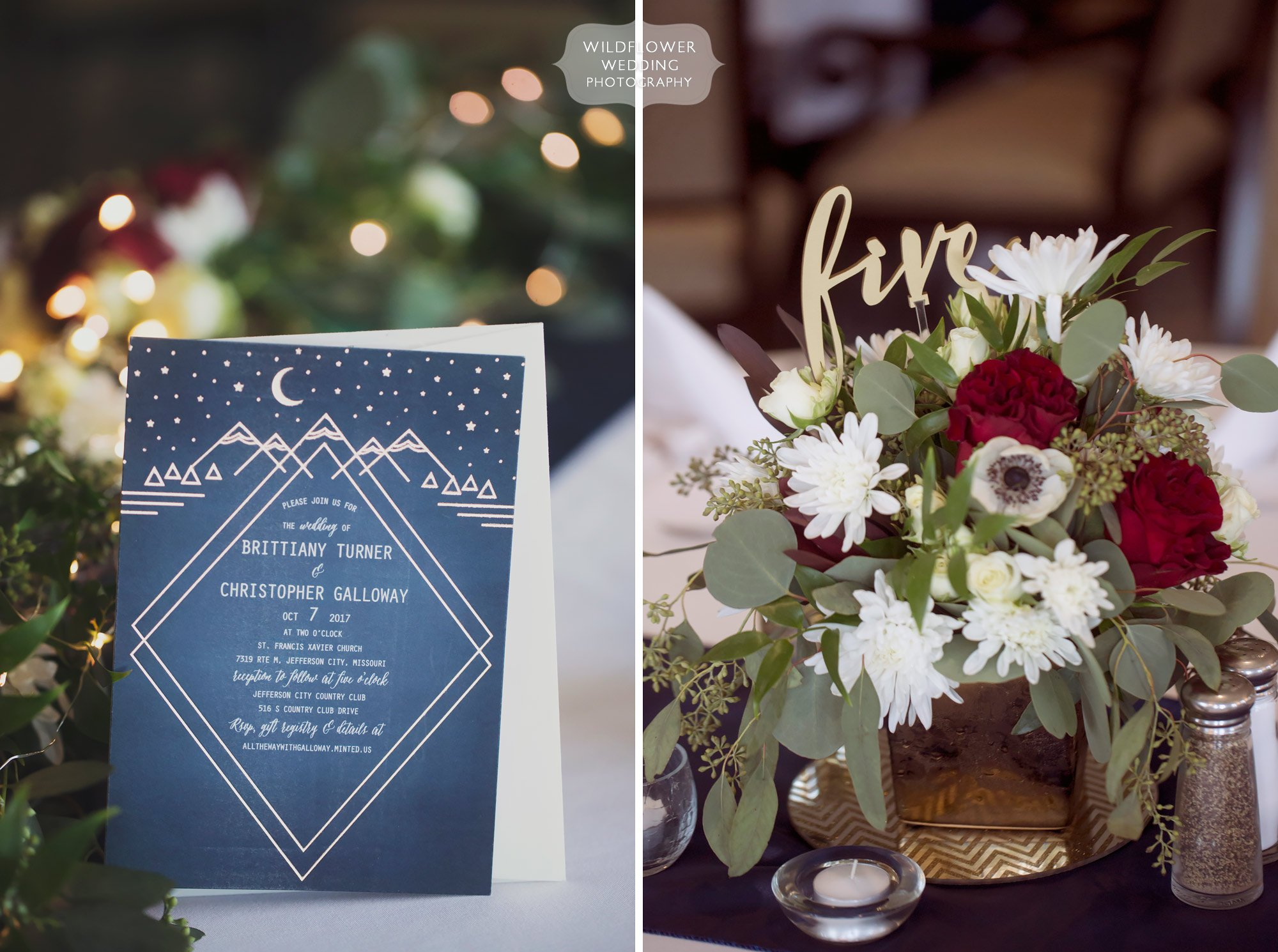Celestial wedding invitations at the Jefferson City Country Club.