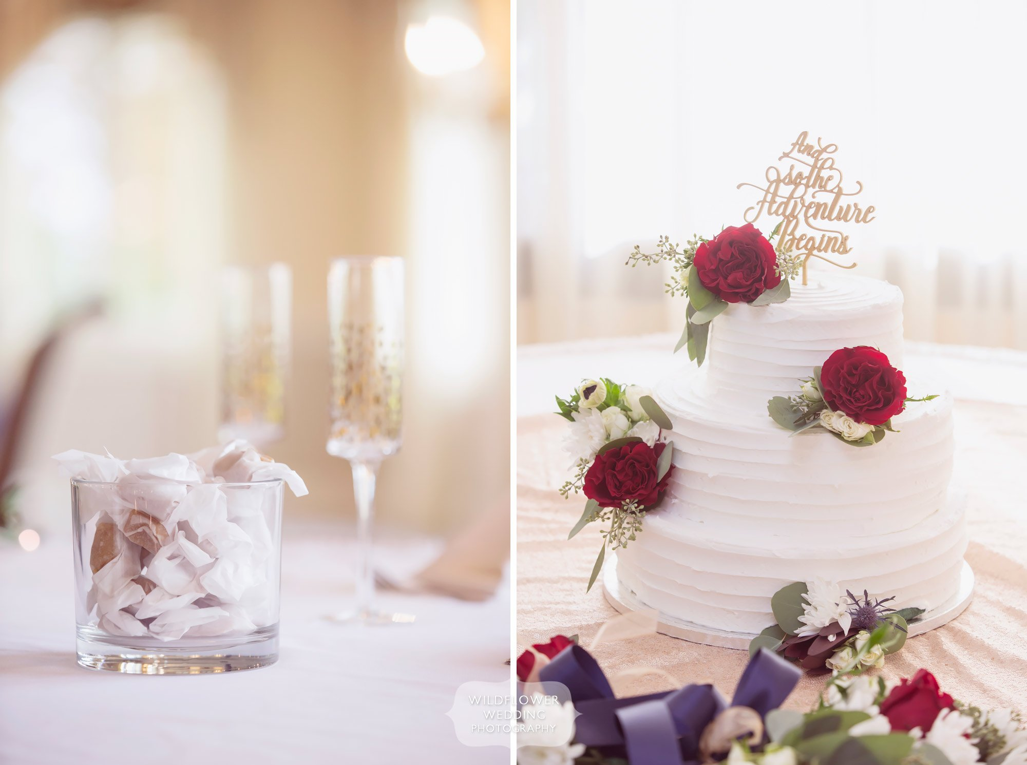 Rustic wedding reception with Anthropologie details at Jefferson City Country Club.