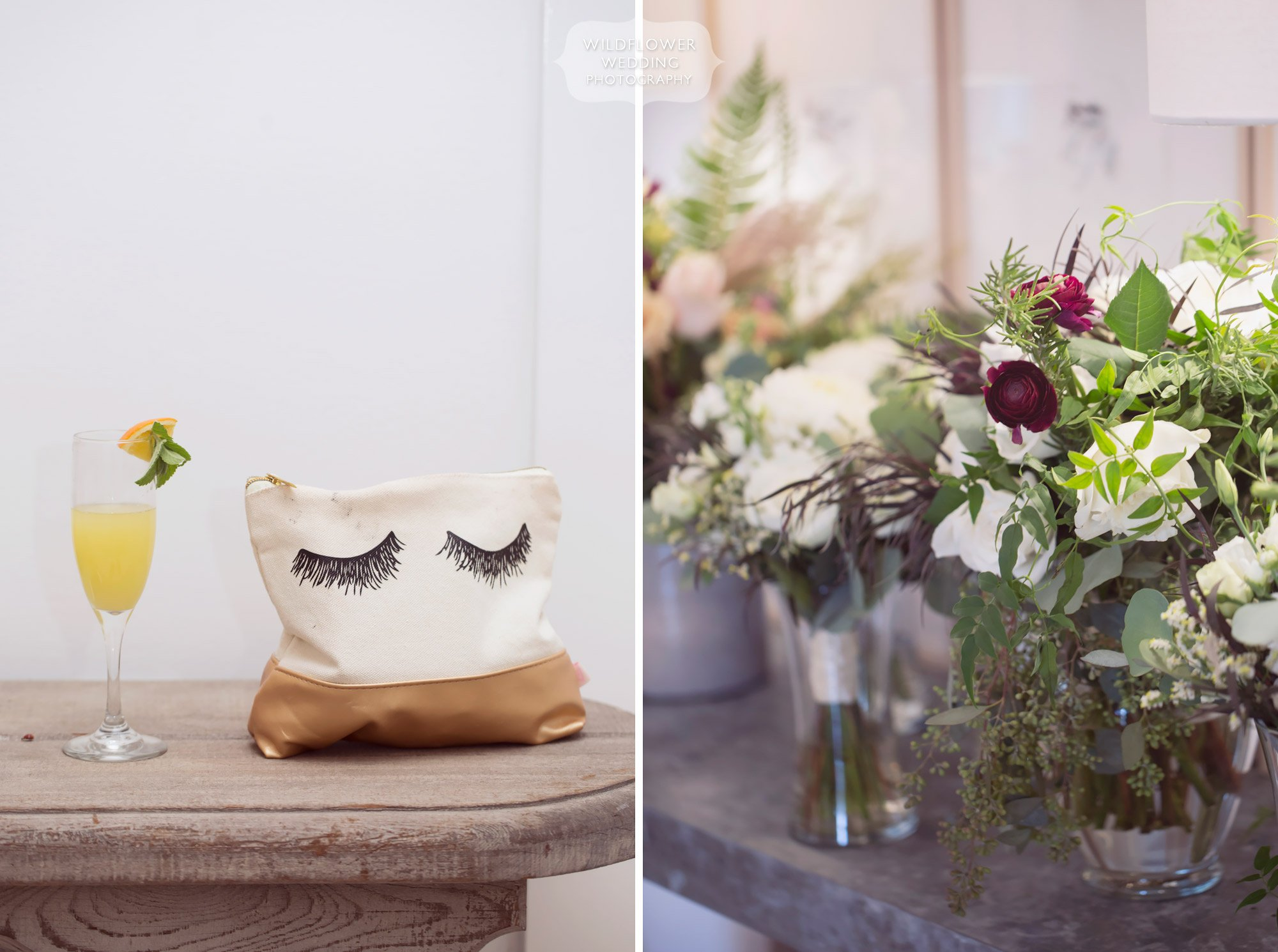 Details in the bridal cottage with an eyelashes makeup bag and mimosa at Blue Bell.