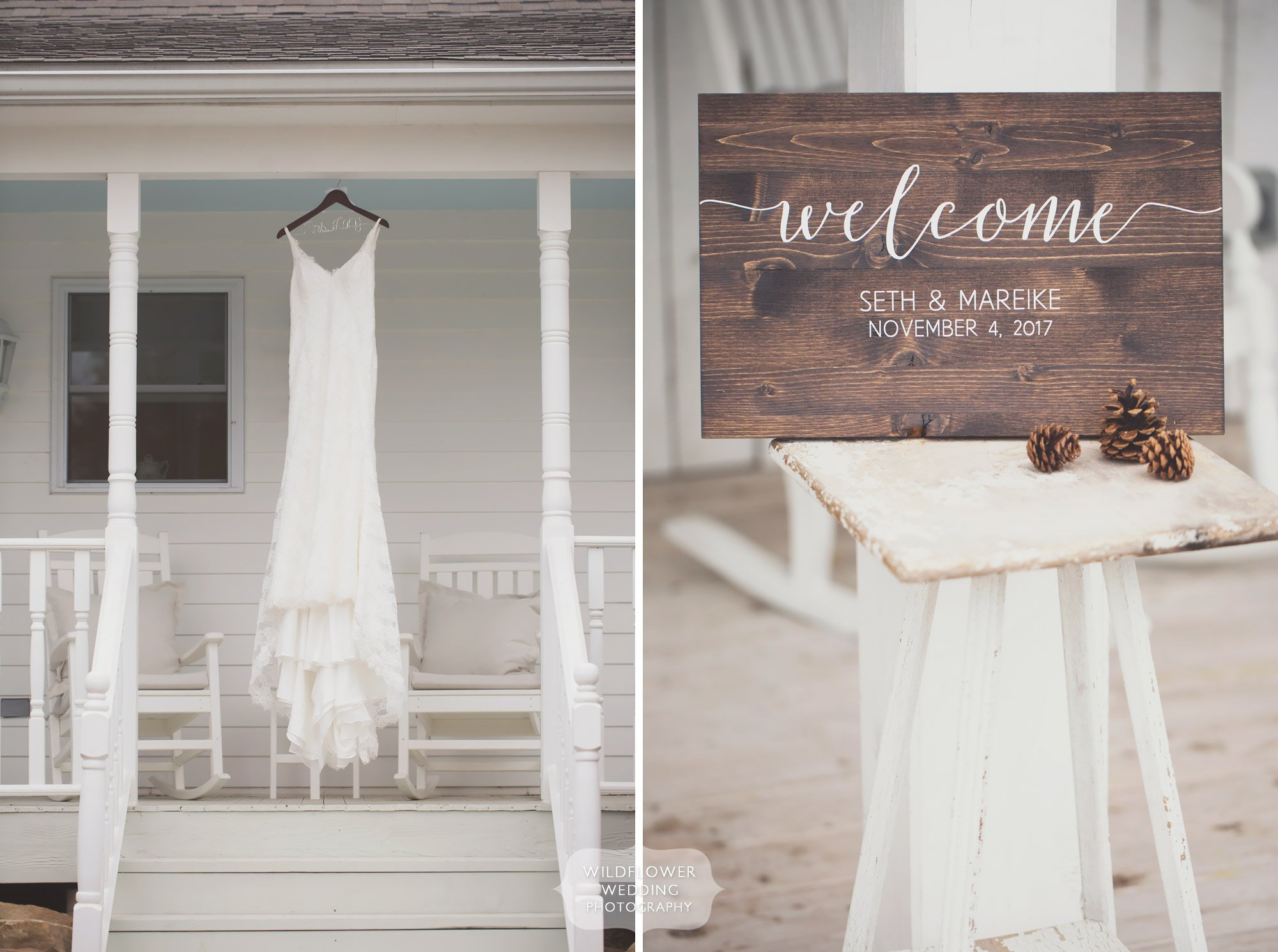 Ethereal photography of the wedding dress hanging at wooden welcome sign at this Blue Bell Farm wedding venue in mid-Missouri.