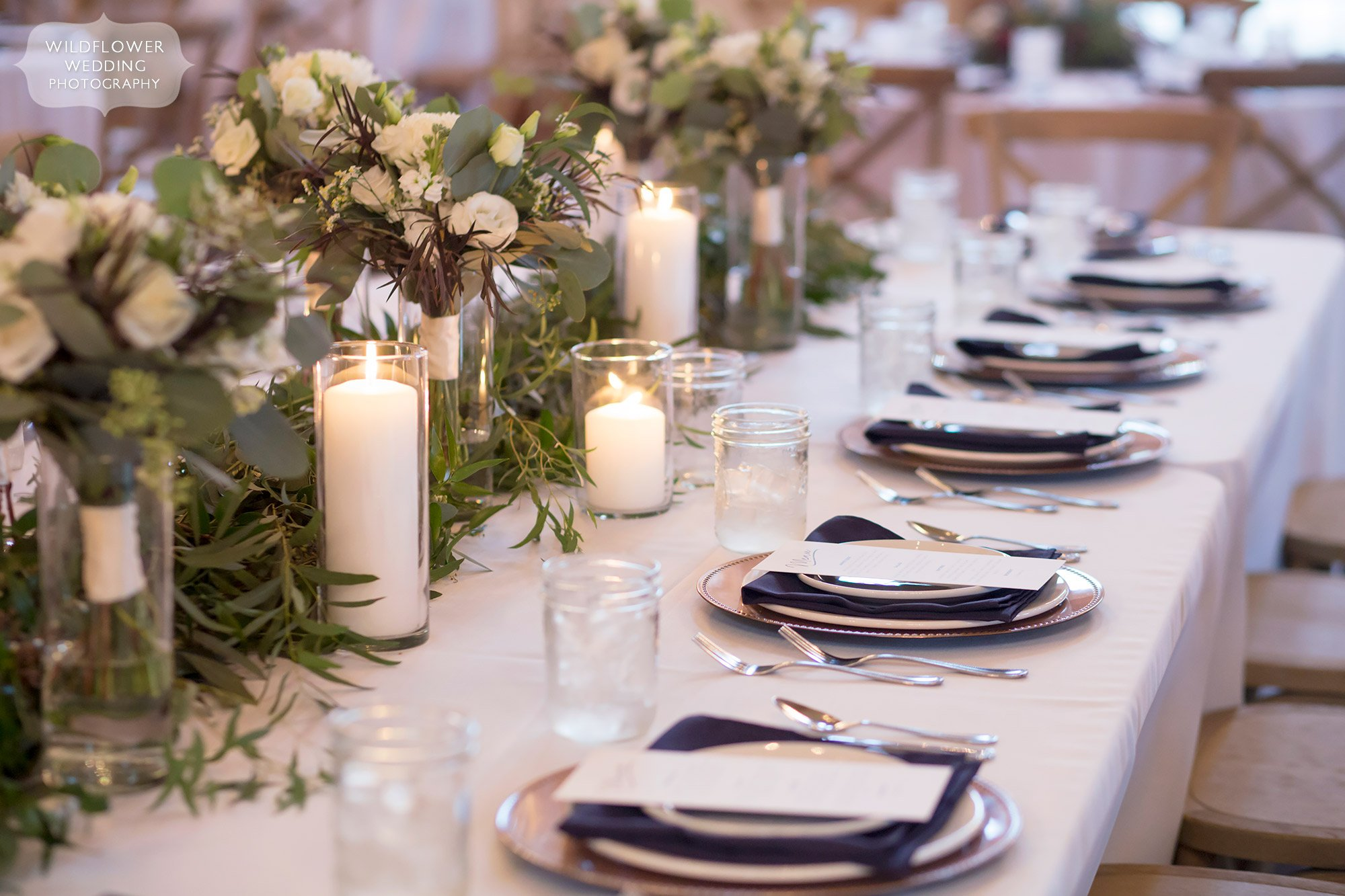 Trailing greenery on table centerpieces at the Blue Bell Farm.