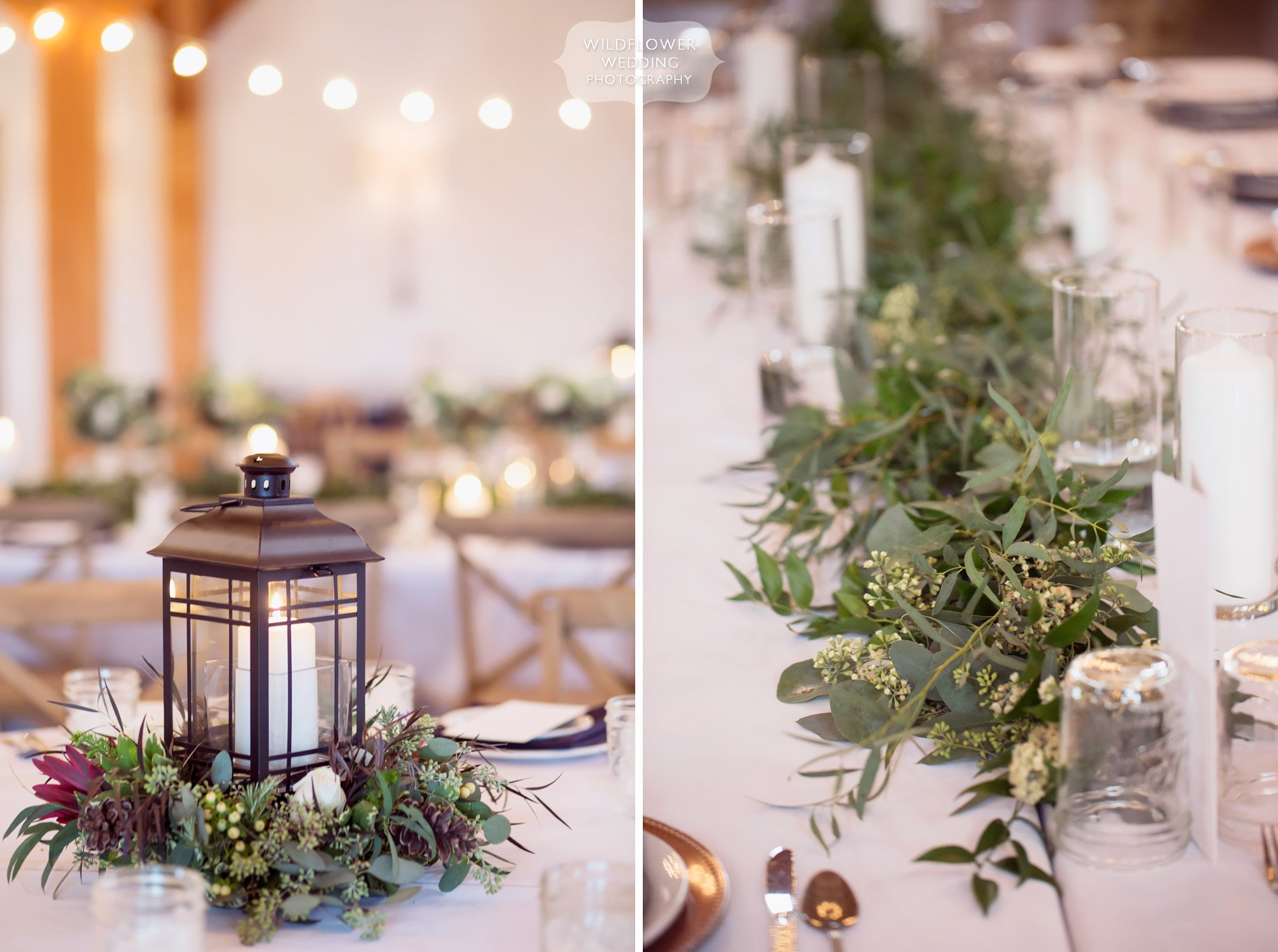 Love these rustic wedding centerpieces with iron candle lanterns at the Blue Bell Farm.
