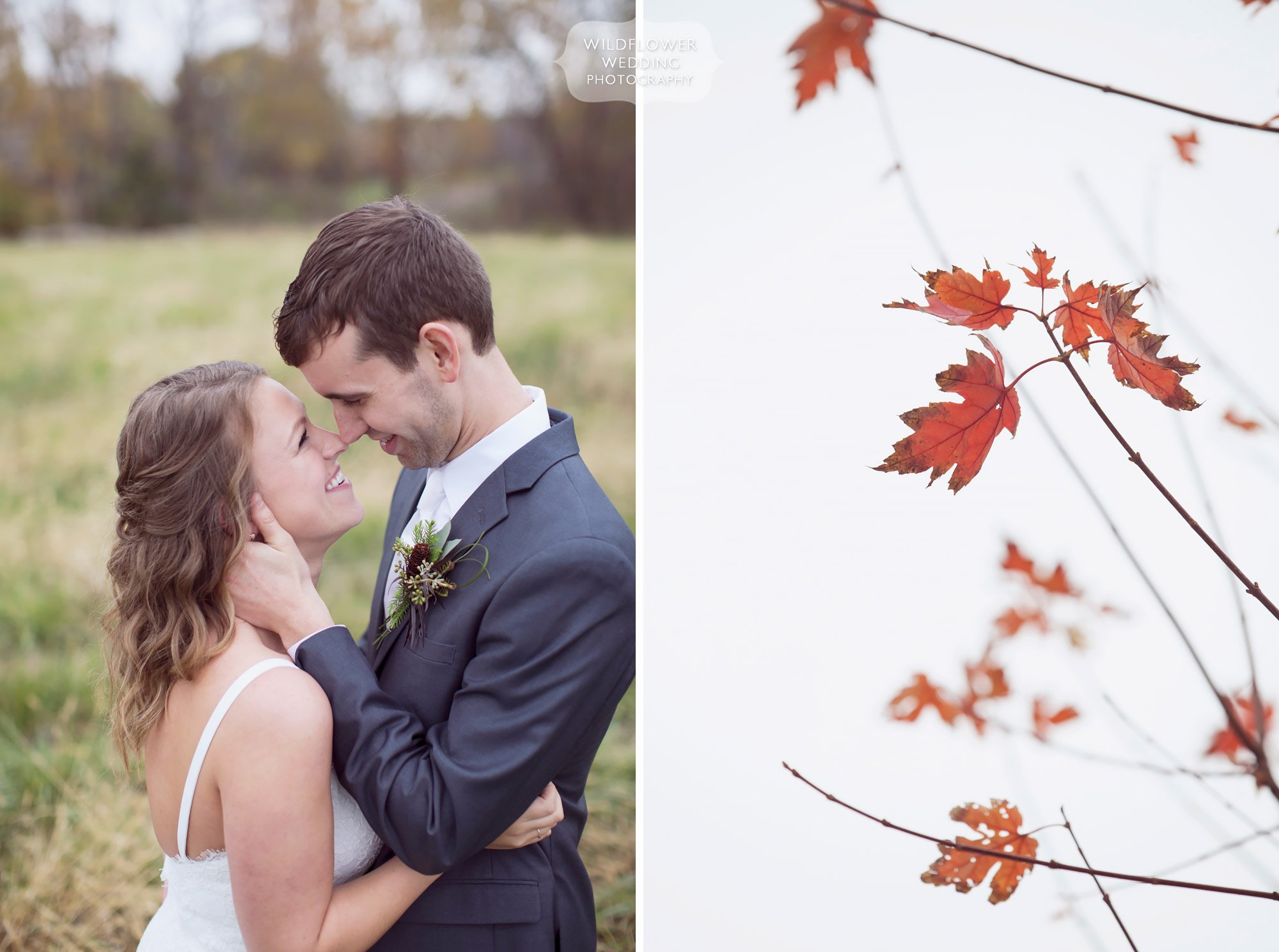 The bride and groom cuddle for their outdoor fall wedding at the Blue Bell Farm.