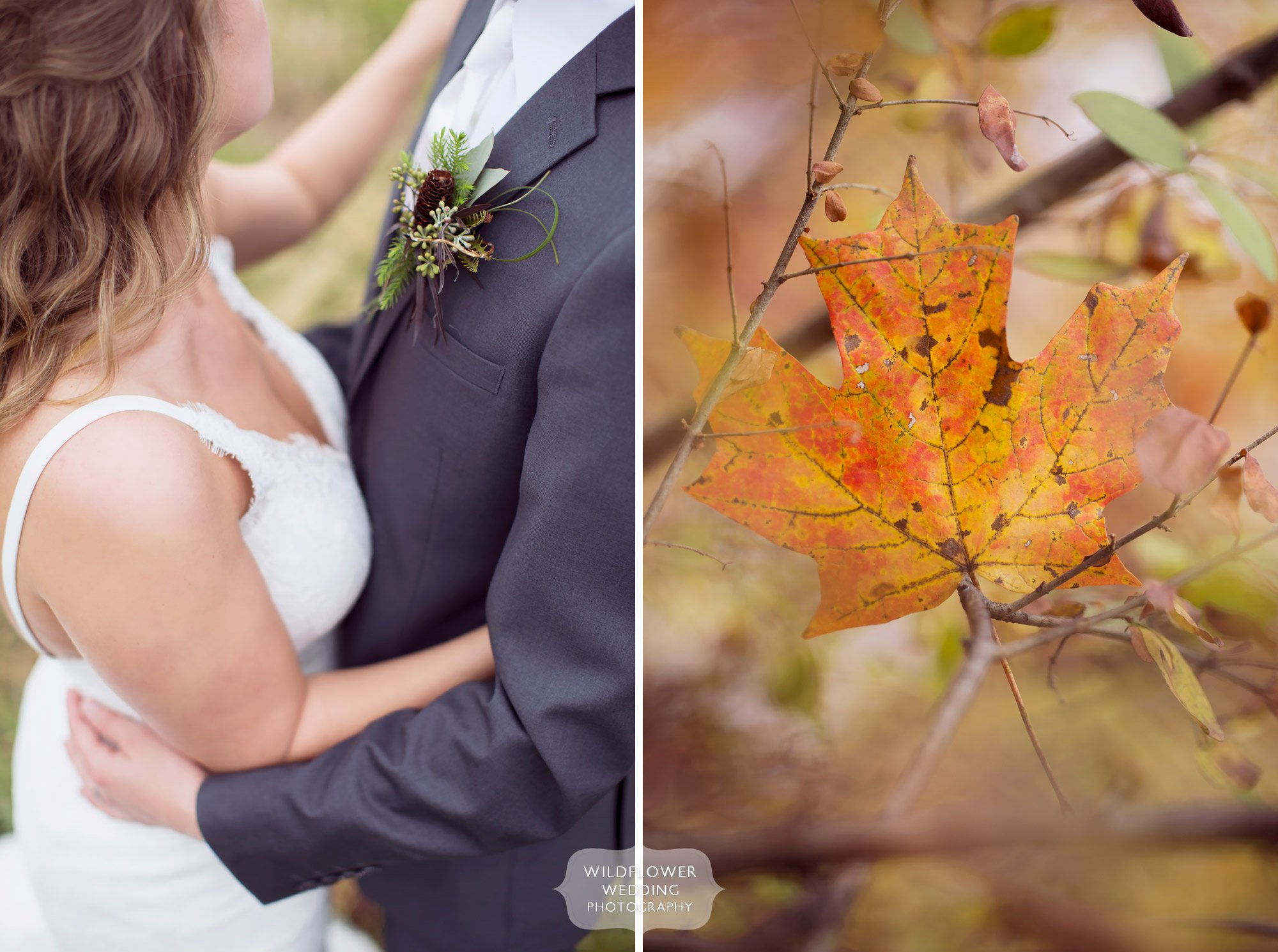 The bride and groom with fall foliage for their November wedding at the Blue Bell Farm.