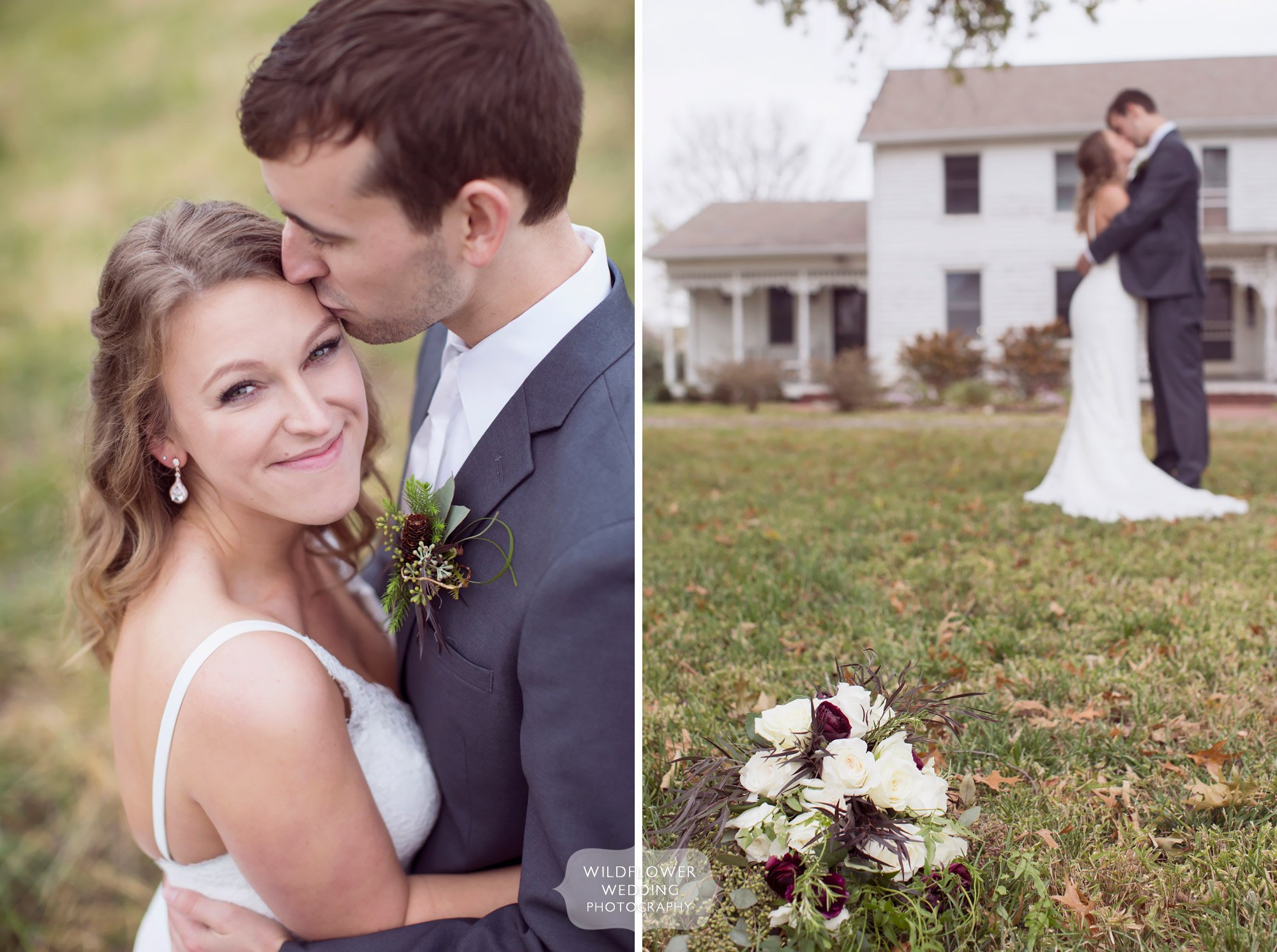 Natural wedding portrait of the bride and groom smiling at this barn wedding venue.