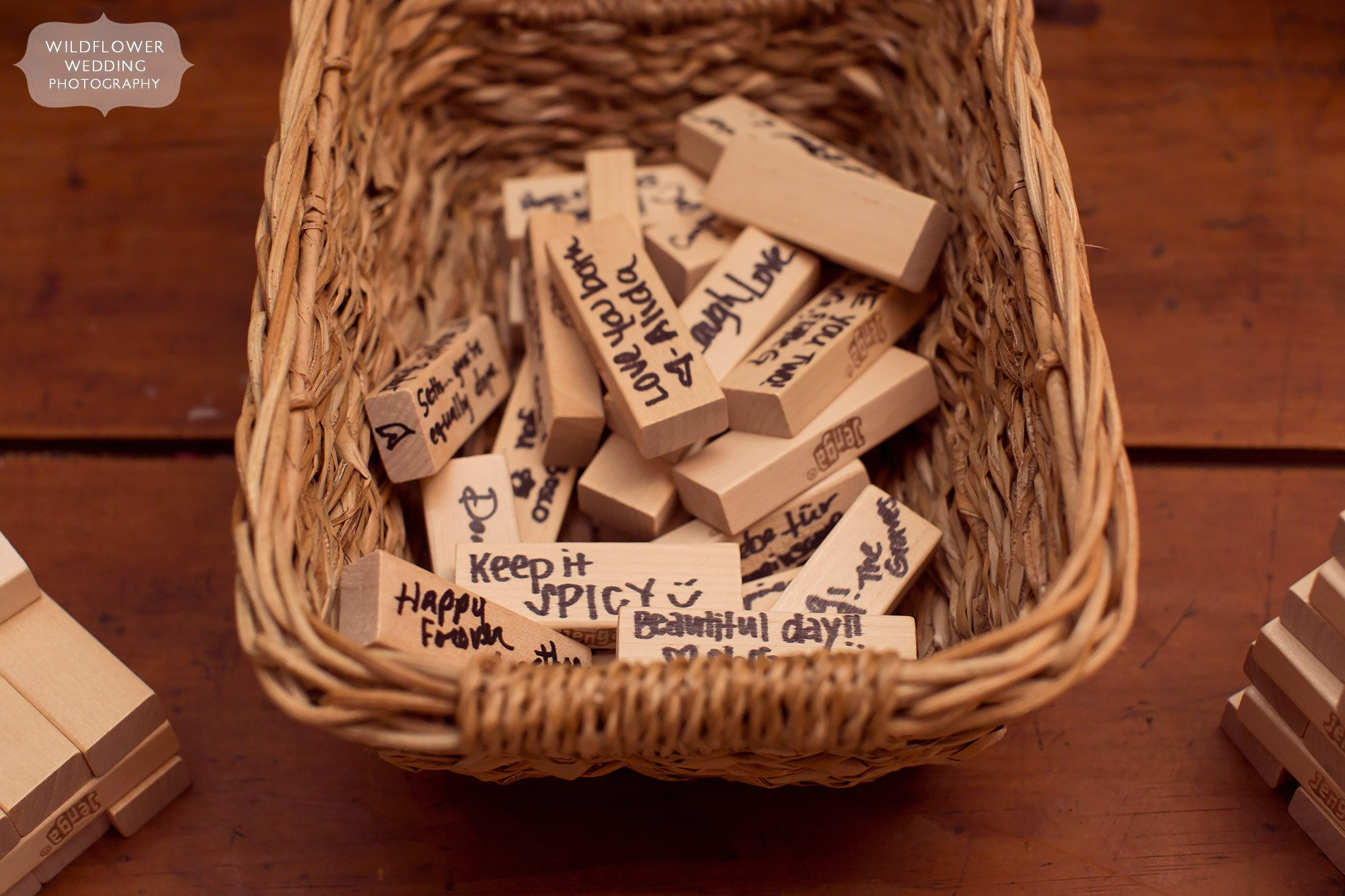 Great unique idea for a guestbook–have people write messages on jenga game pieces!