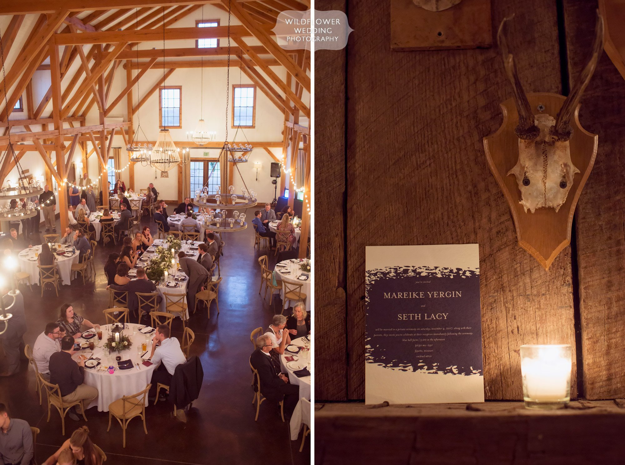 View of the dinner tables set up at the Blue Bell Farm barn for a wedding reception in November.