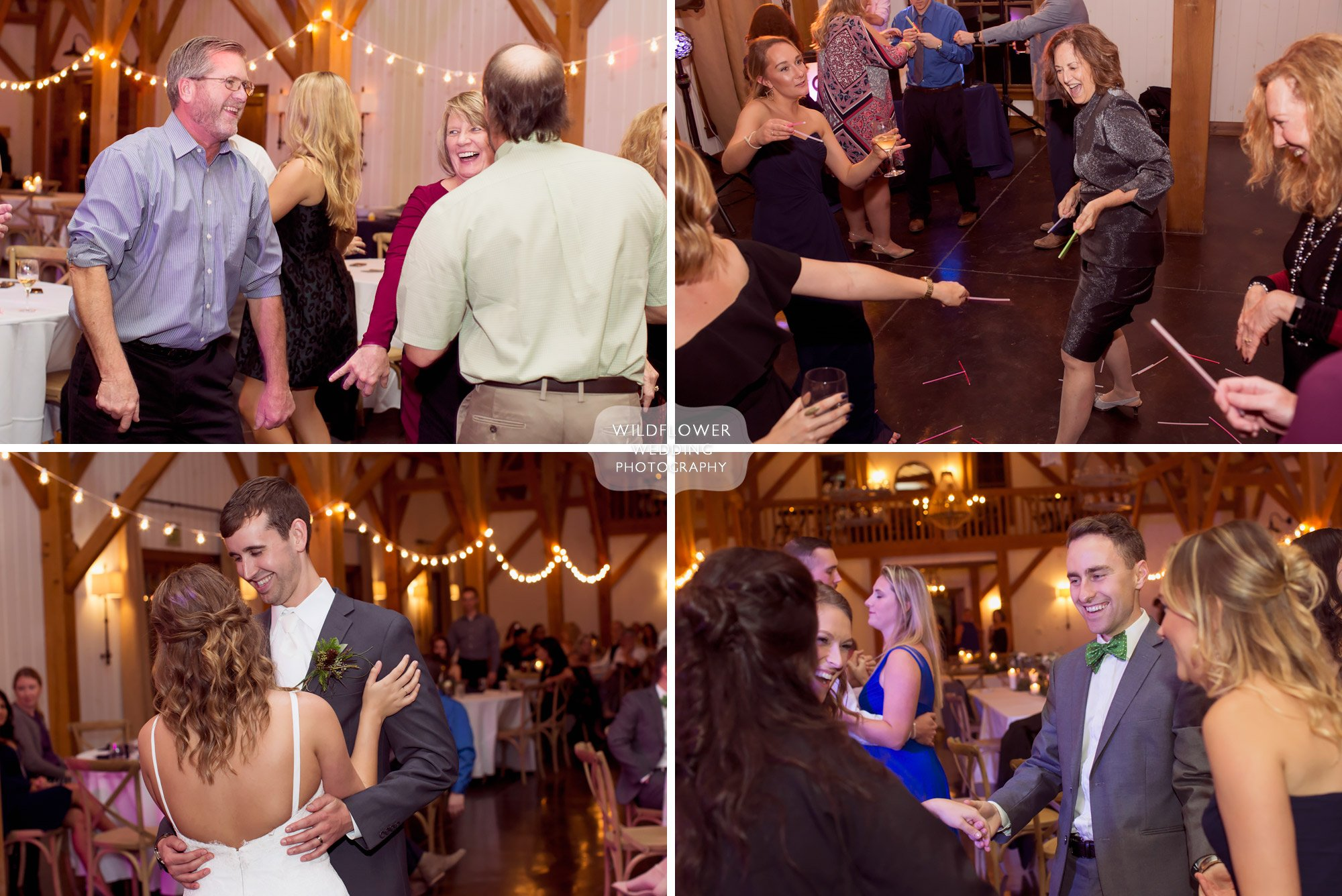 Candid photography of wedding guests dancing at Blue Bell Farm reception in timber frame.