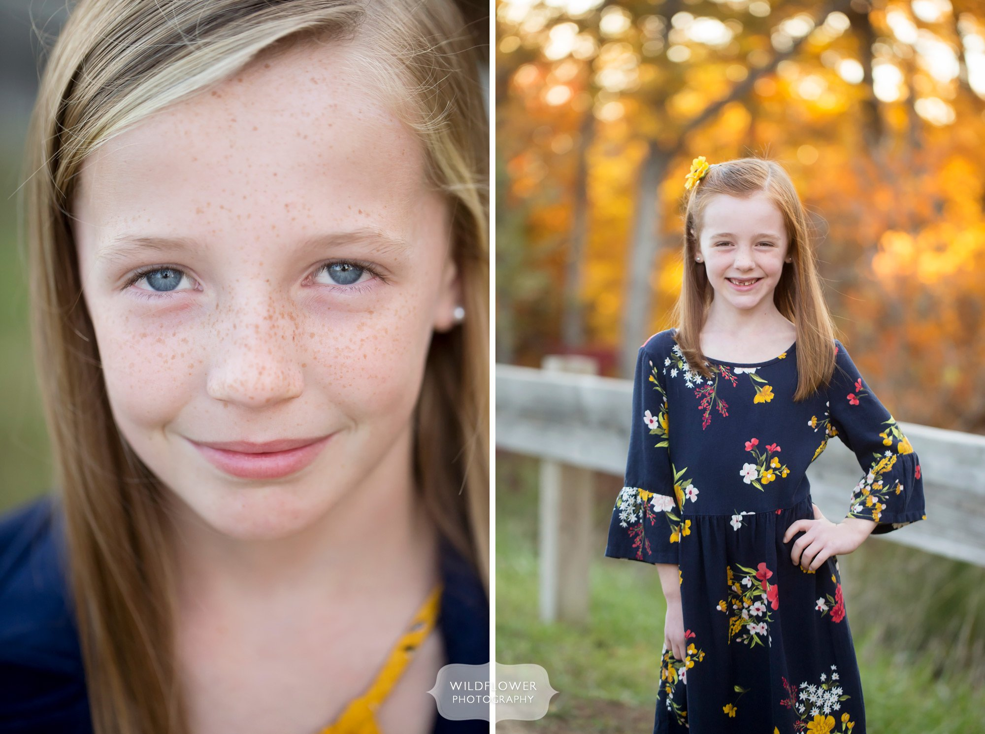 Natural children portraits with freckles in Columbia, MO.
