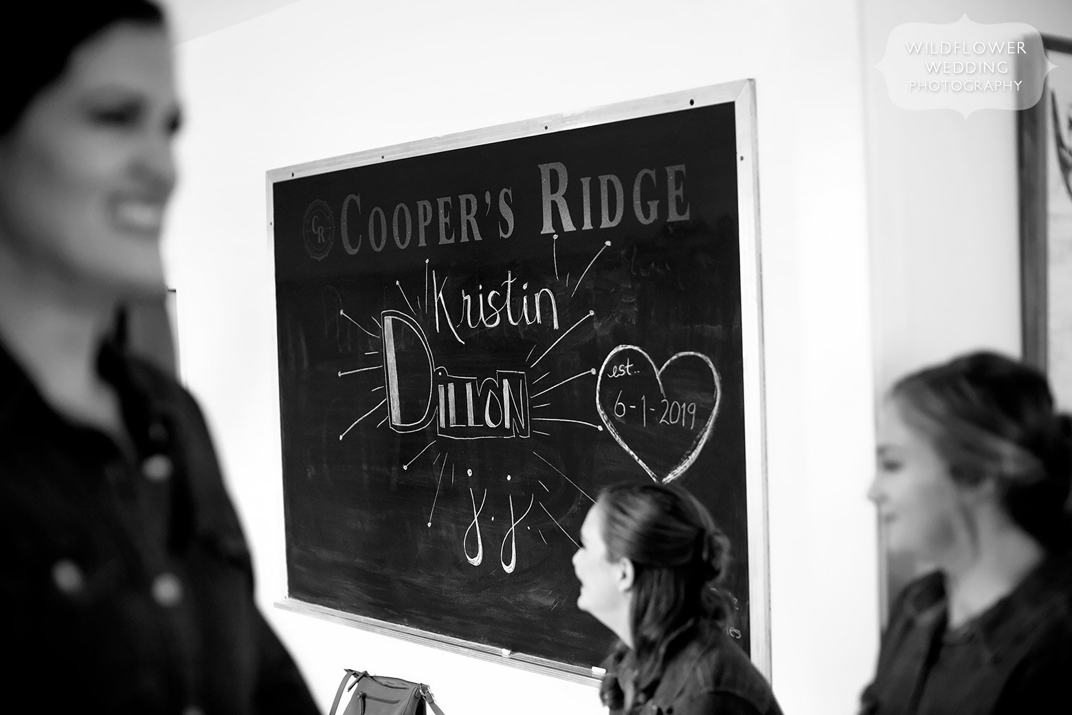 Chalkboard with wedding details at Cooper's Ridge in Boonville.