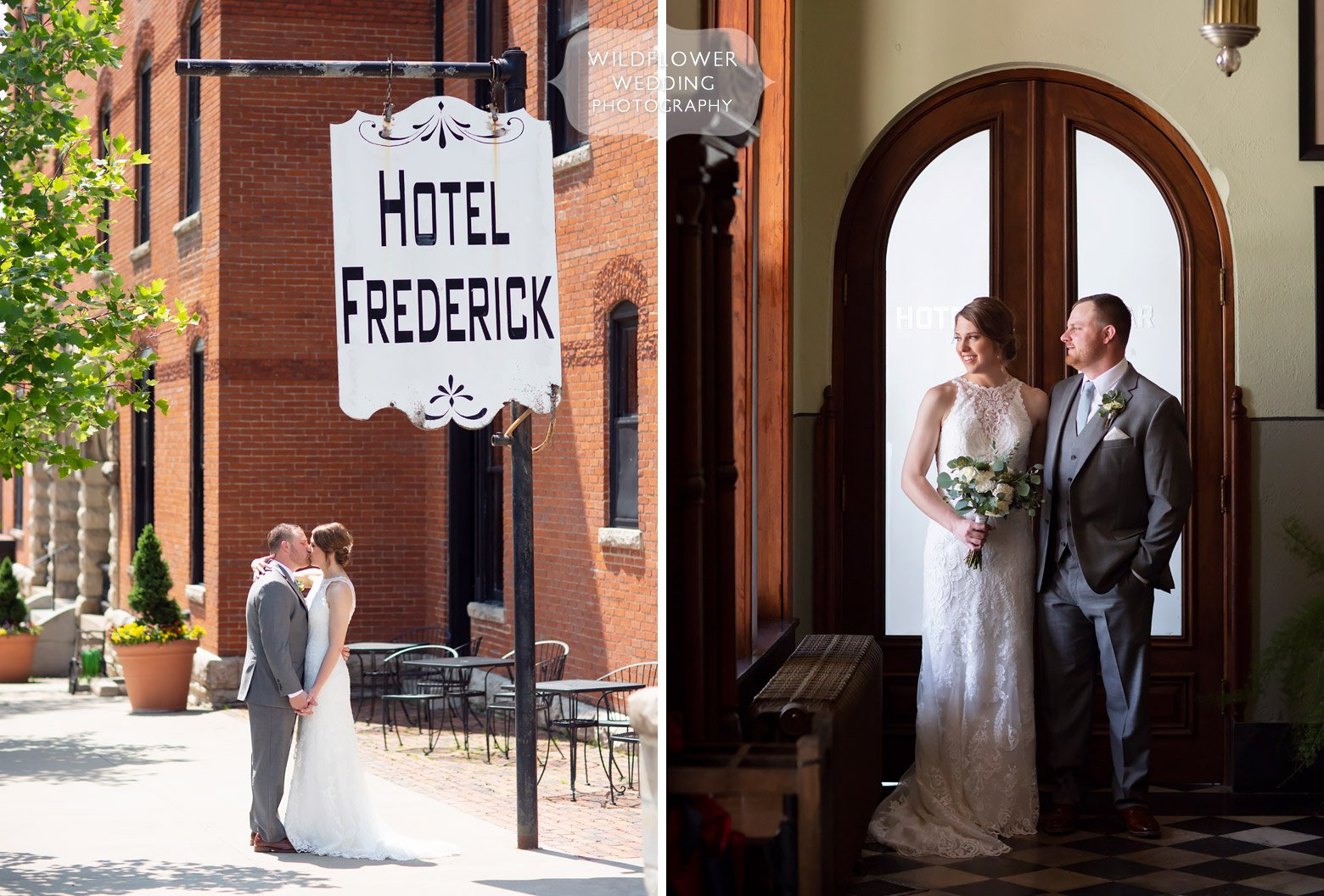 Bride and groom stand under Hotel Frederick sign in downtown Boonville.
