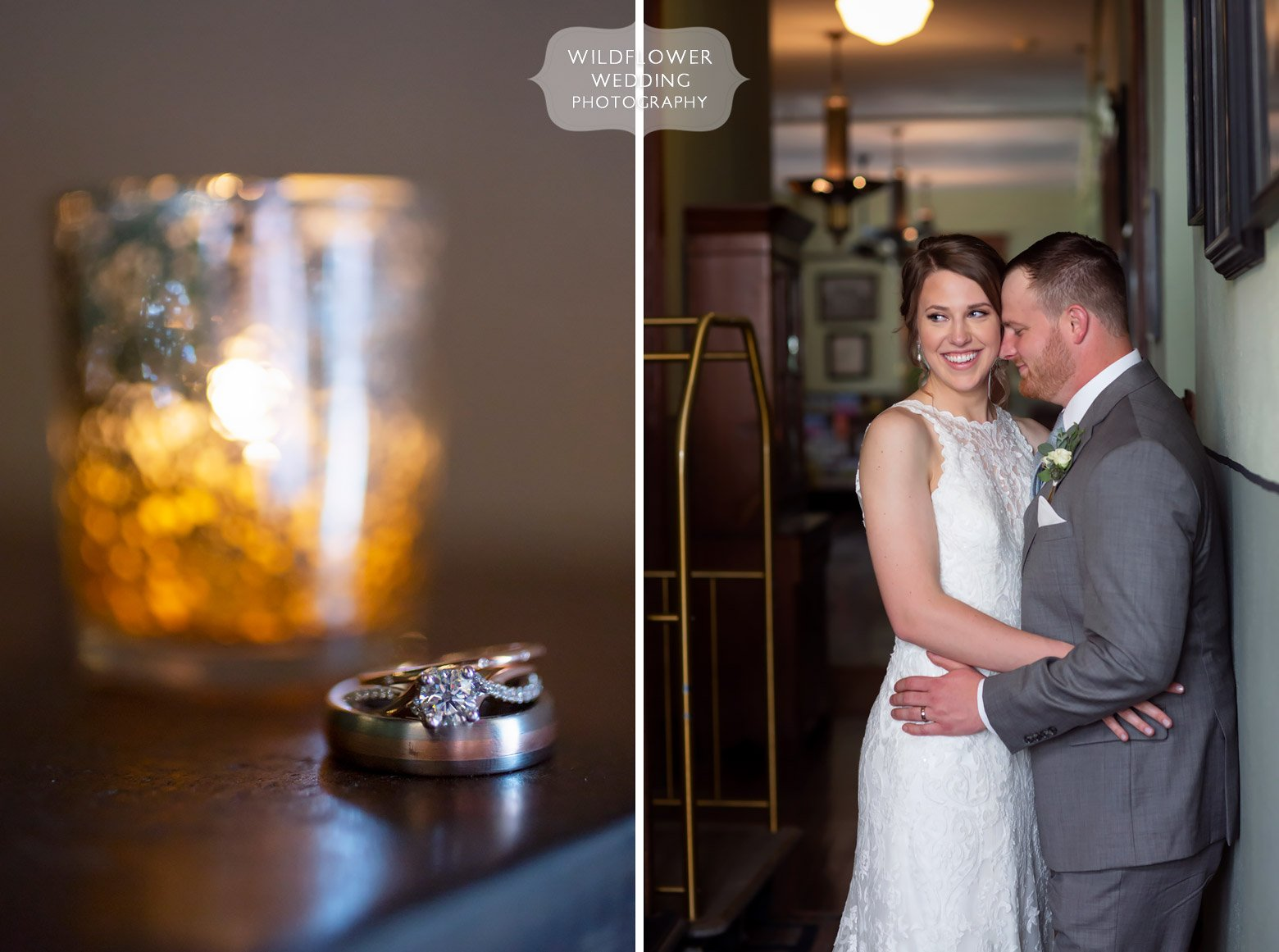 Romantic wedding photo of bride and groom in historic hotel.