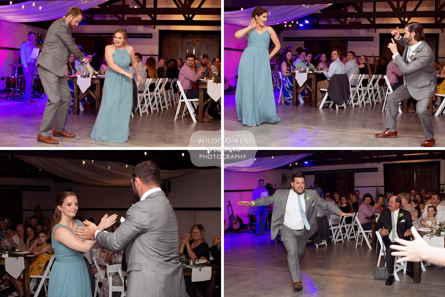 Funny wedding party introductions at Cooper's Ridge venue.