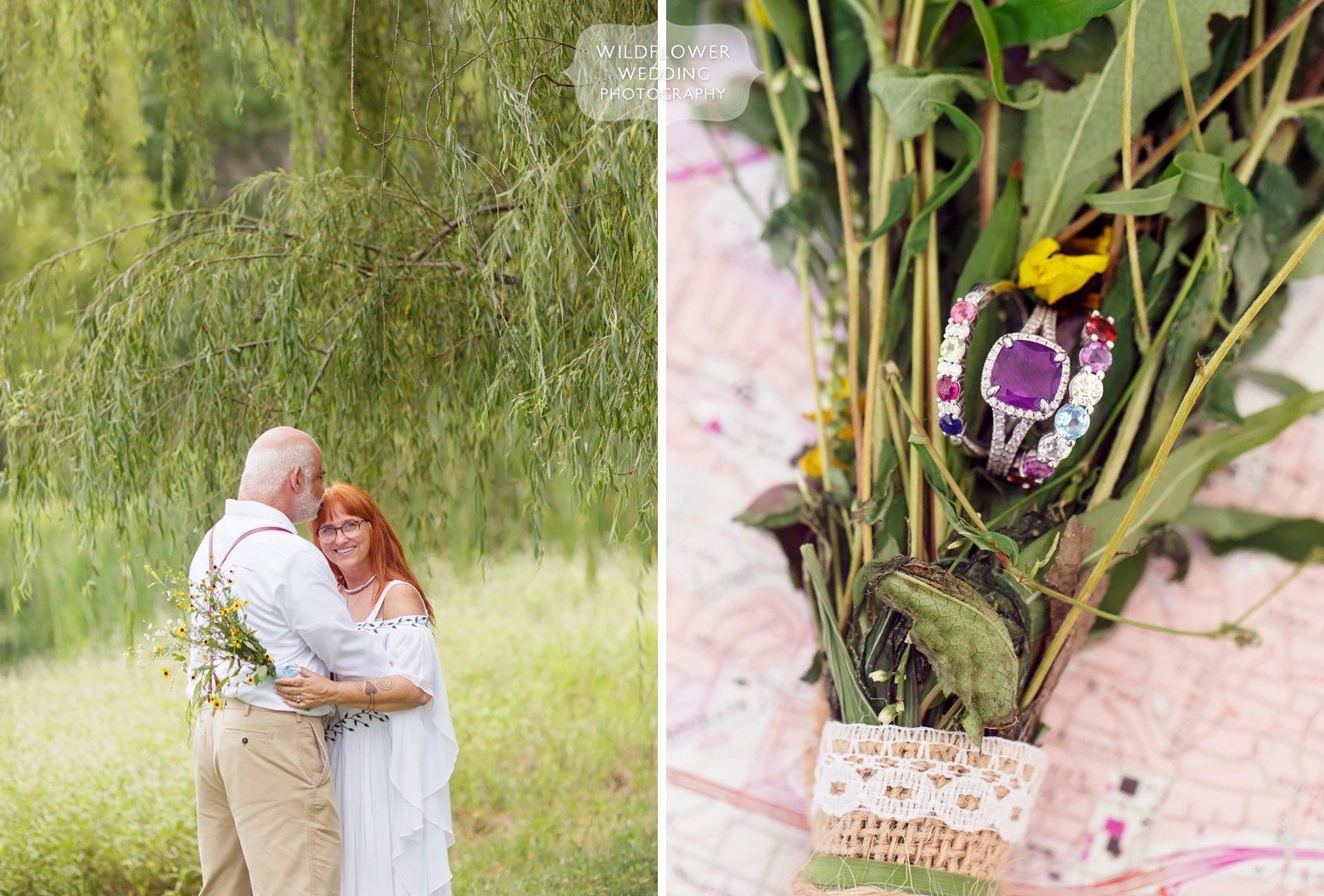 Missouri backyard wedding photographer captures bride and groom stand under a weeping willow.