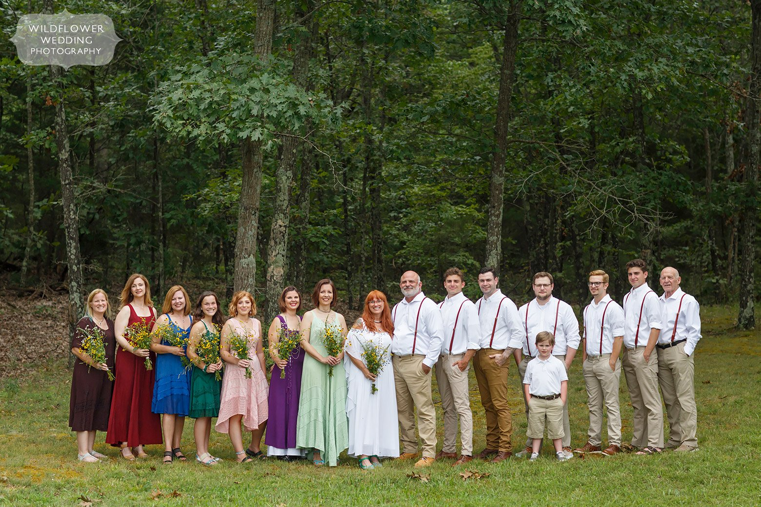 Ecclectic and colorful wedding party for this backyard wedding in southern Missouri.