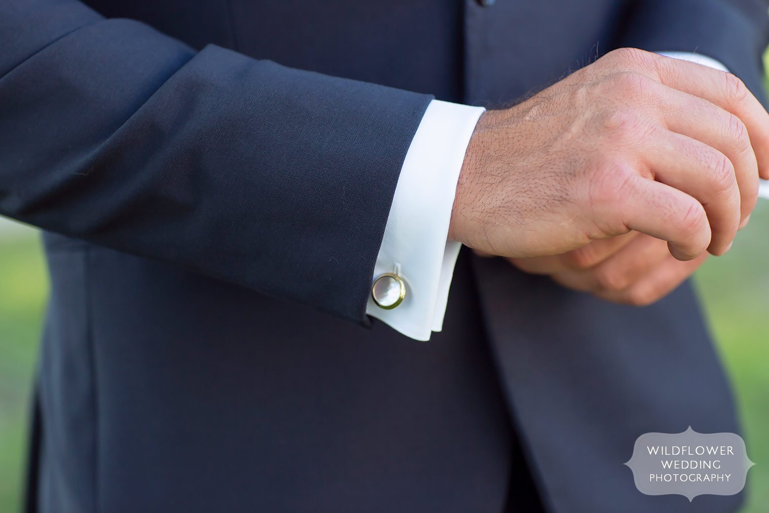 Mother of pearl cufflinks for groom.