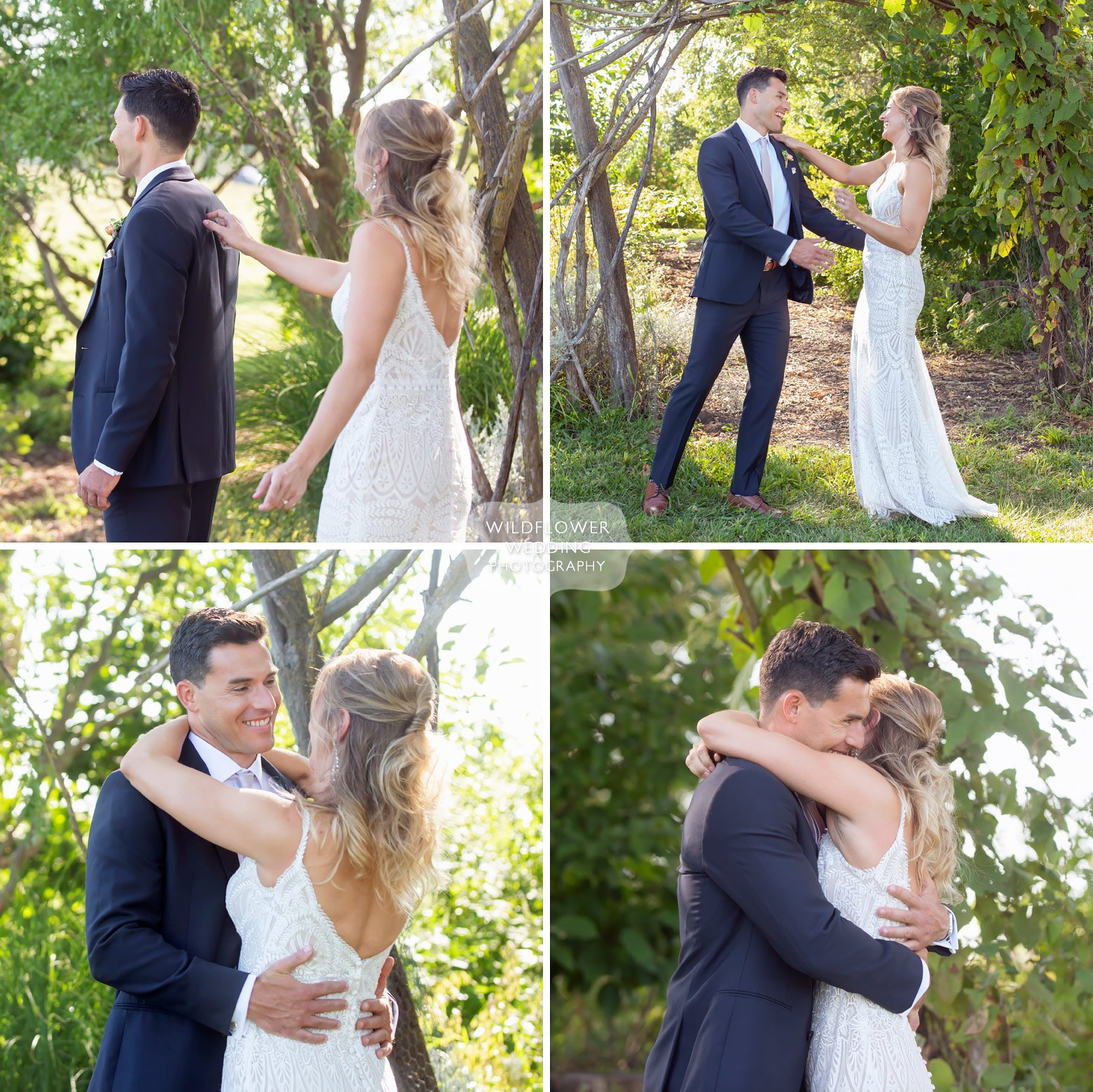 First look between bride and groom at Blue Bell Farm.