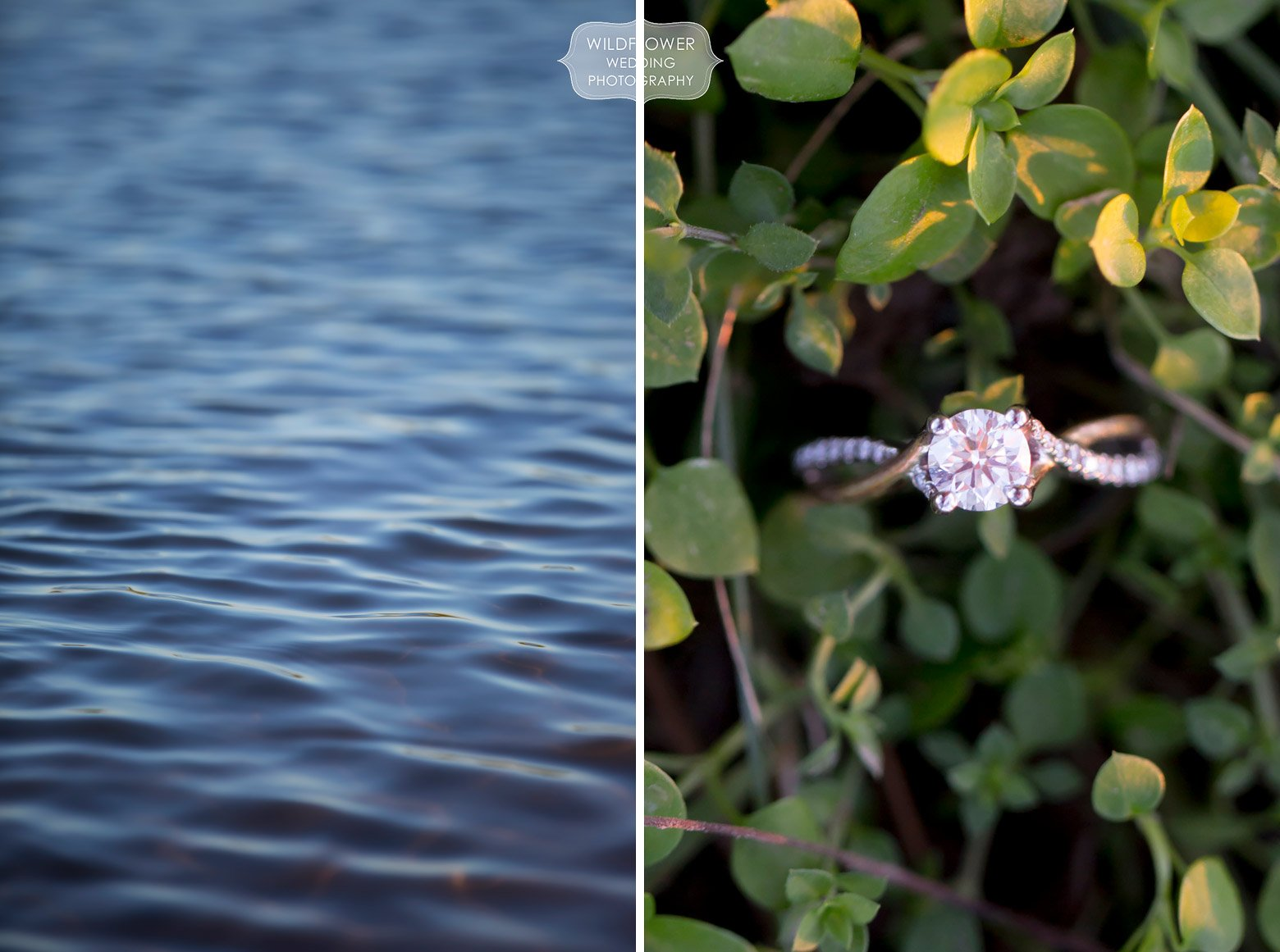 An engagement ring in green clover in mid-MO.