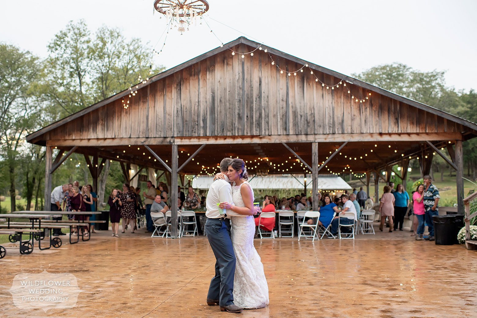 Bride and groom have first dance at Kempker's Back 40.