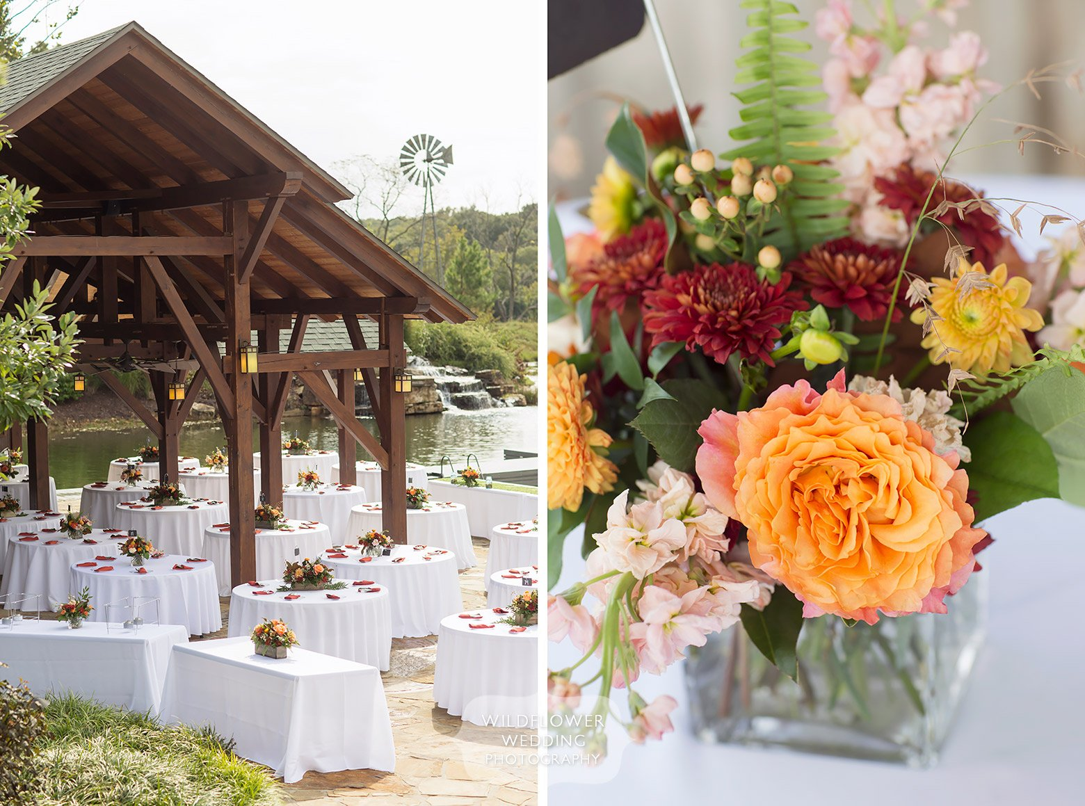 Rustic lodge wedding table set up in Hermann, MO.