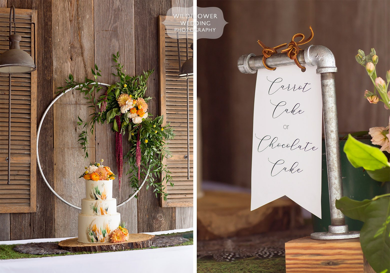 DIY pipe fixture signs for wedding in Hermann, MO.