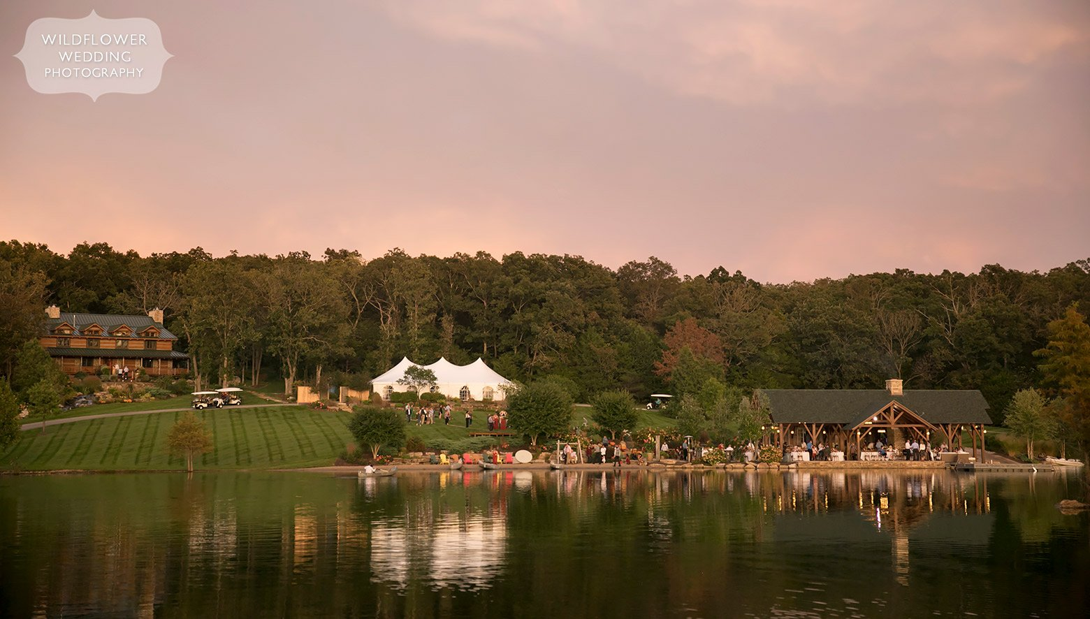 Outdoor lodge wedding in Hermann, MO with tented reception.
